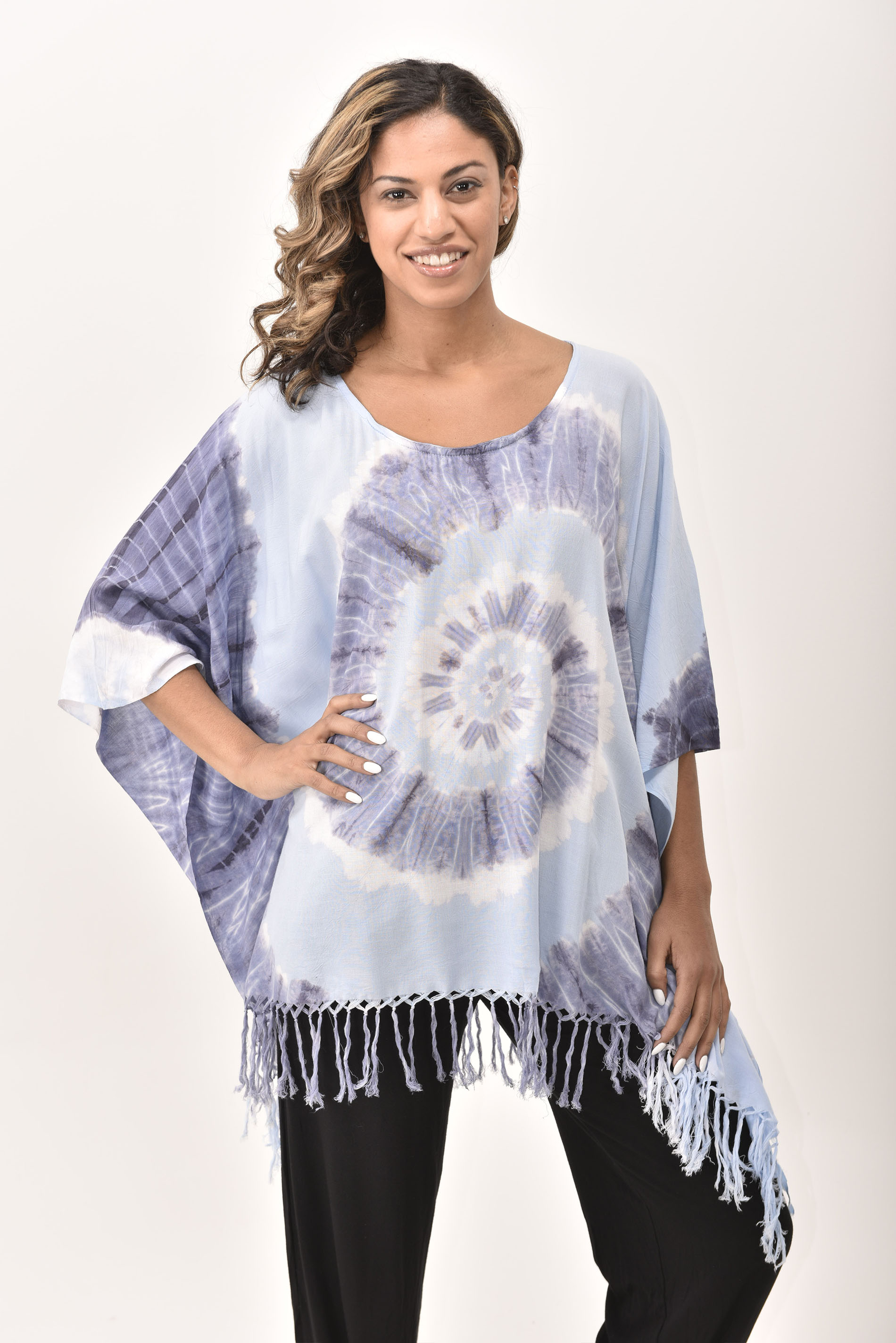 Fringed Poncho Tunic Hand Painted Tie Dye, Blue