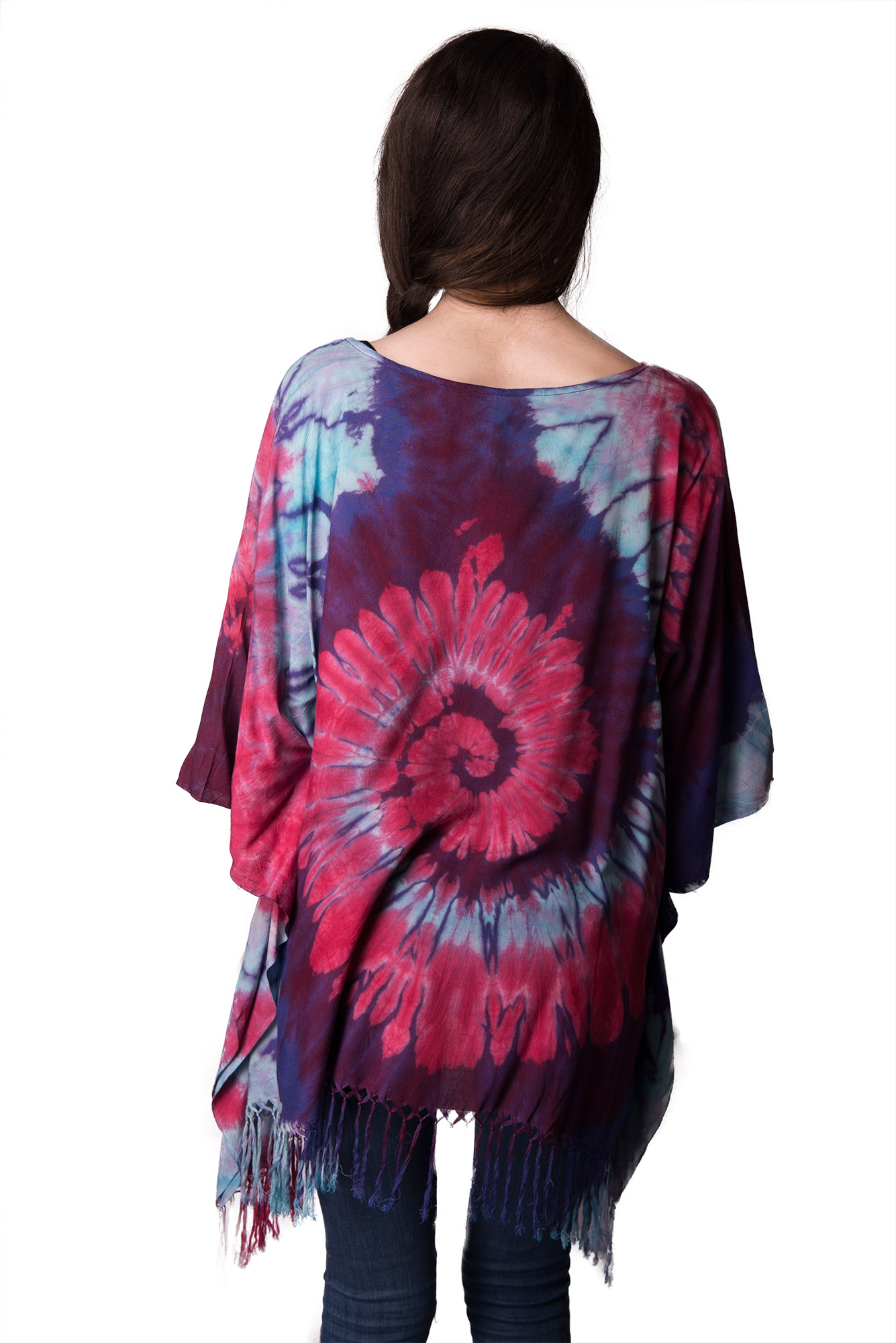 Hand Painted Tie Dye,Fringed Poncho Tunic , Blue Red