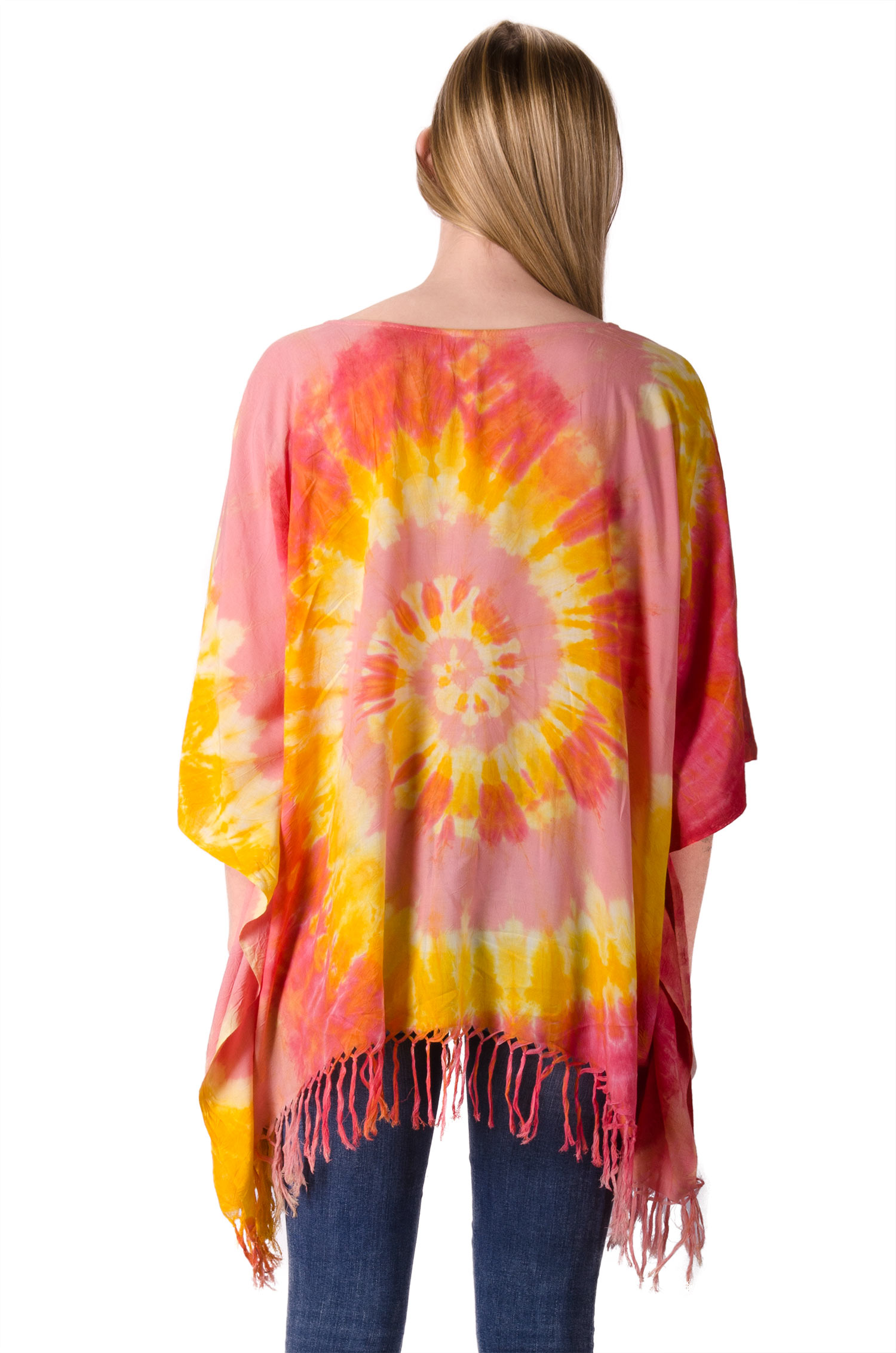 Hand Painted Tie Dye,Fringed Poncho Tunic , Orange Yellow