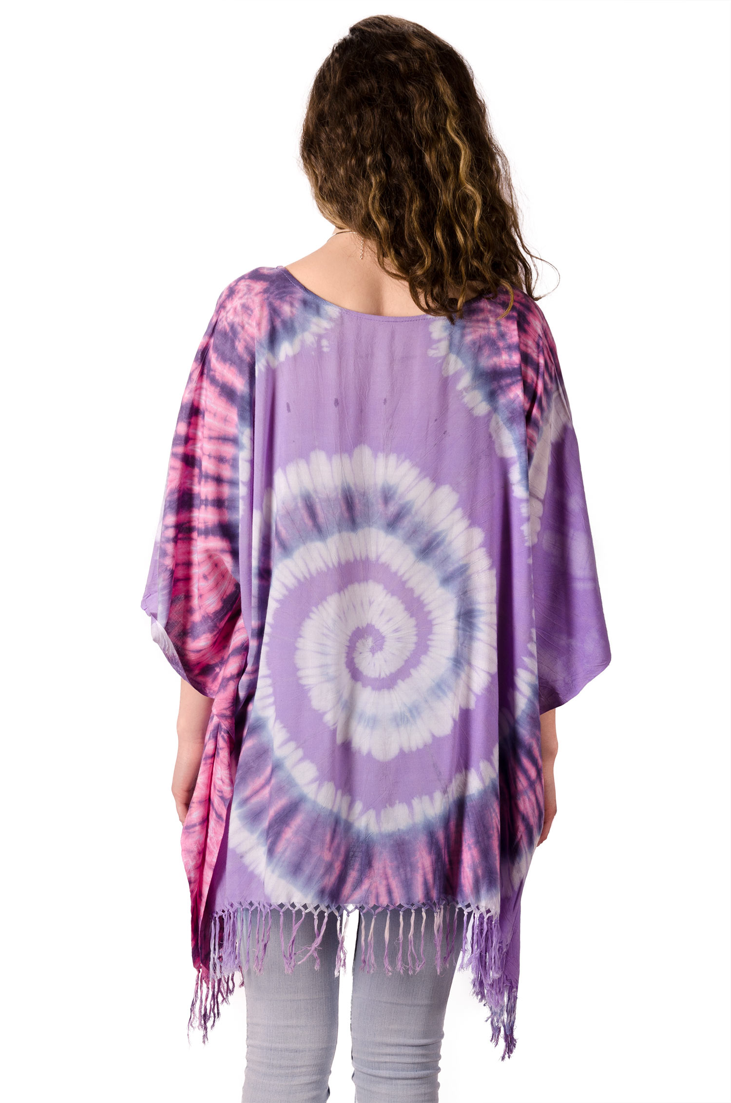 Hand Painted Tie Dye,Fringed Poncho Tunic, Lavender