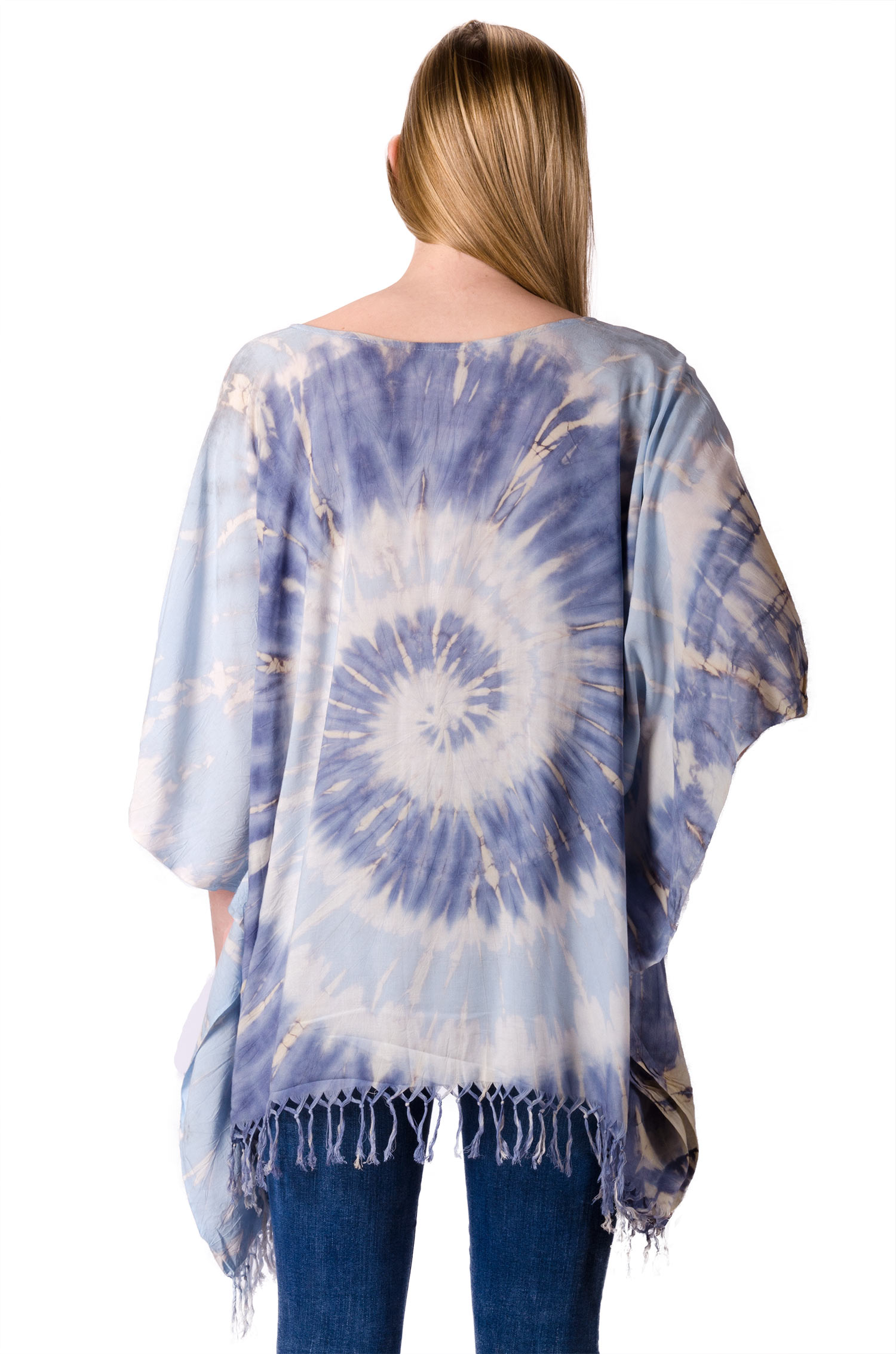 Hand Painted Tie Dye,Fringed Poncho Tunic , Blue