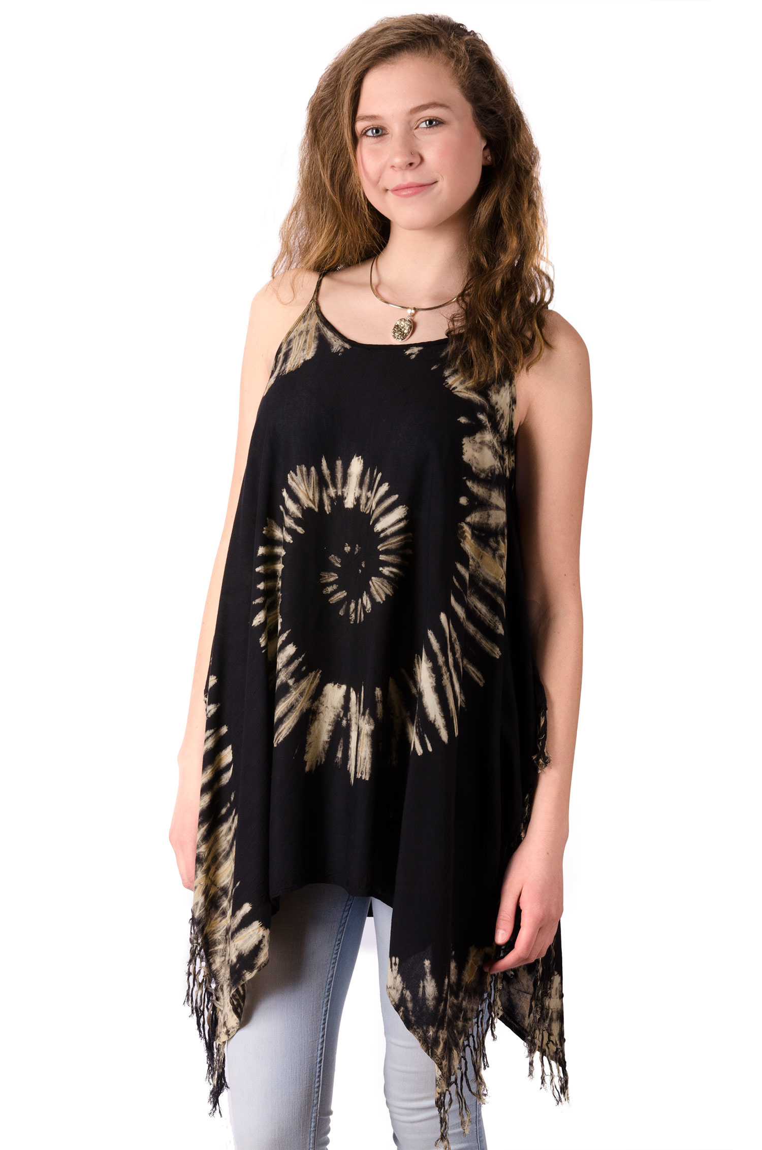 Fairy-Cut Fringed Top Hand Painted Tie Dye, Black Taupe