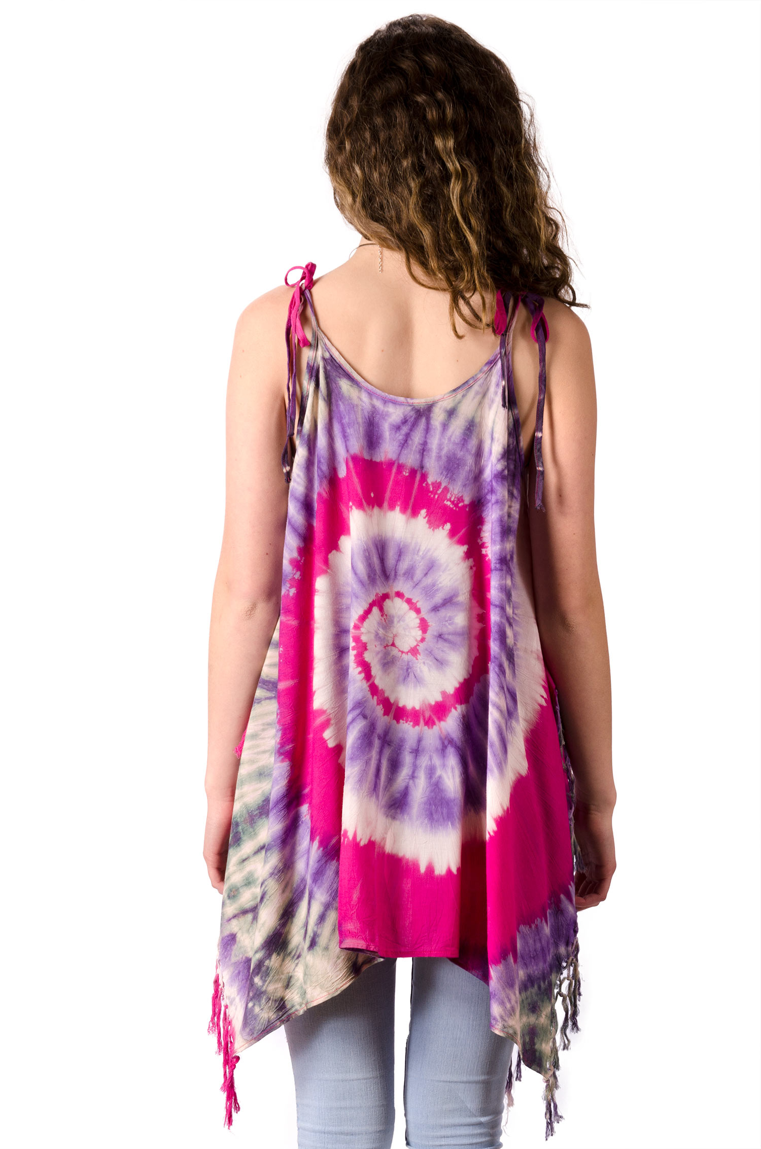Fairy-Cut Fringed Top Hand Painted Tie Dye, Pink Lavender