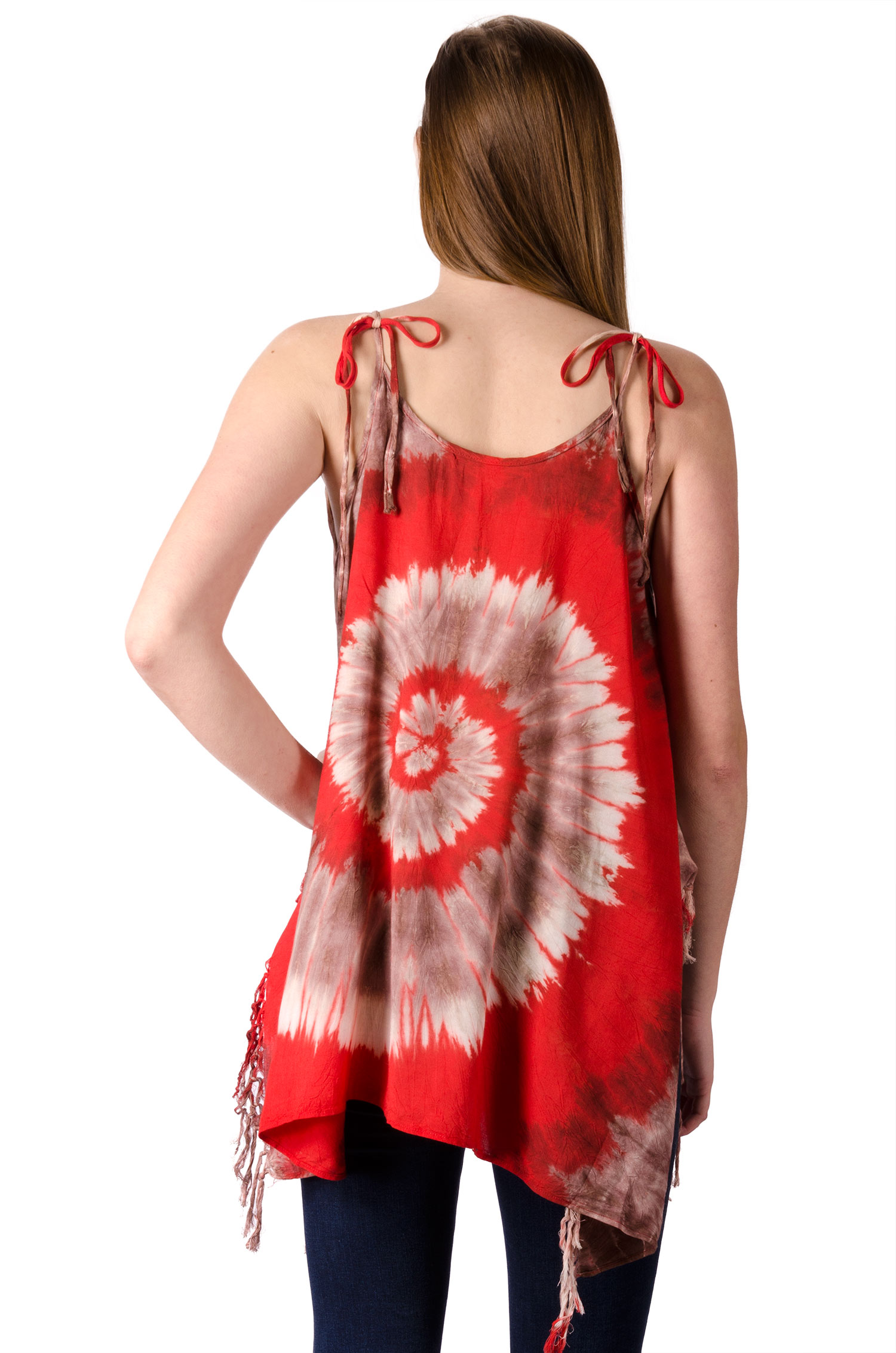Fairy-Cut Fringed Top Hand Painted Tie Dye, Red