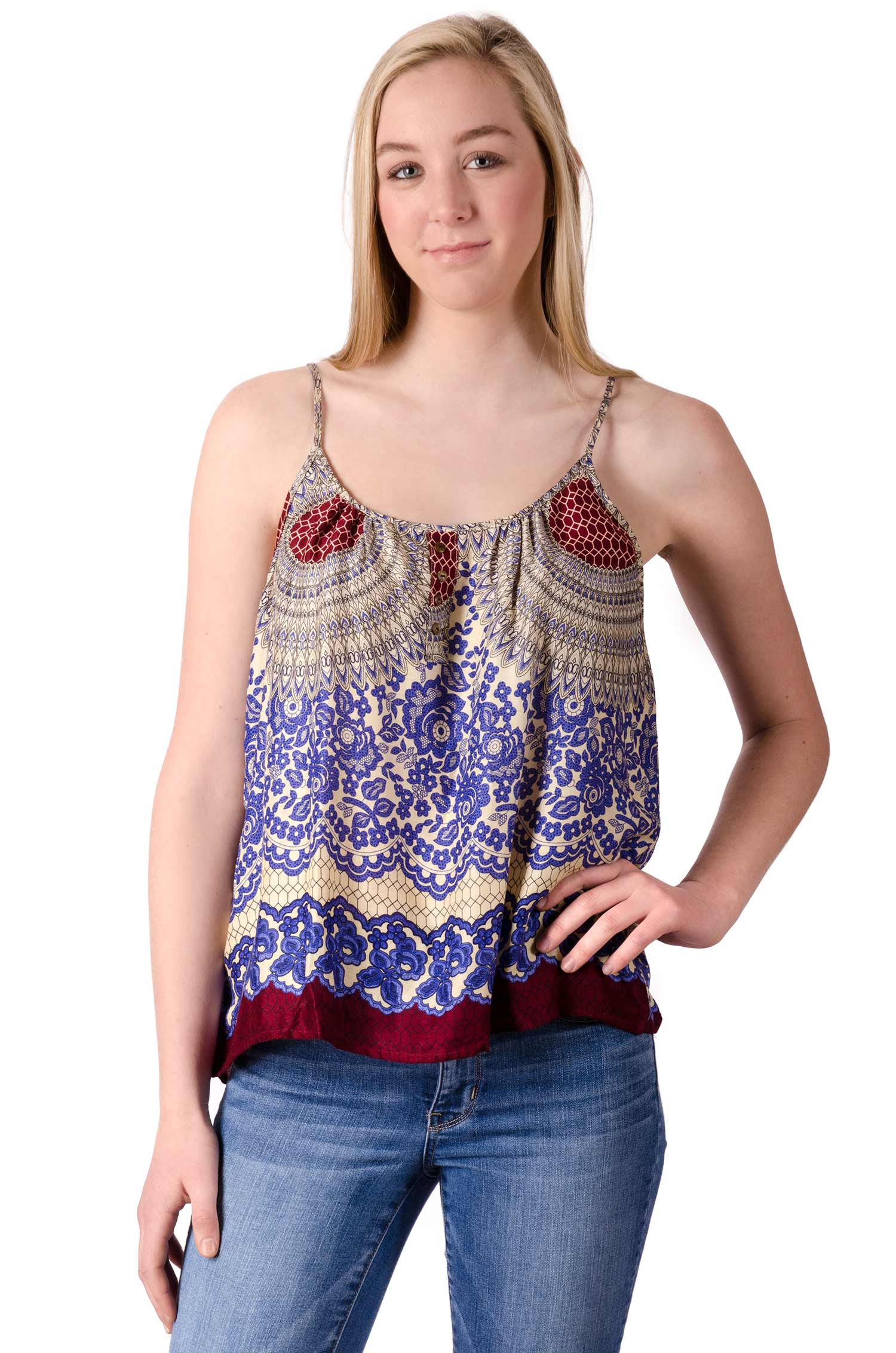 Print Cami Top - Blue Multi - 4483B