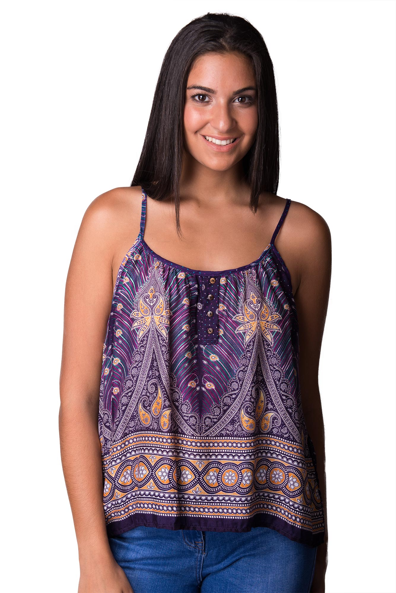 Peacock Print Cami Top - Red Multi - 4483R