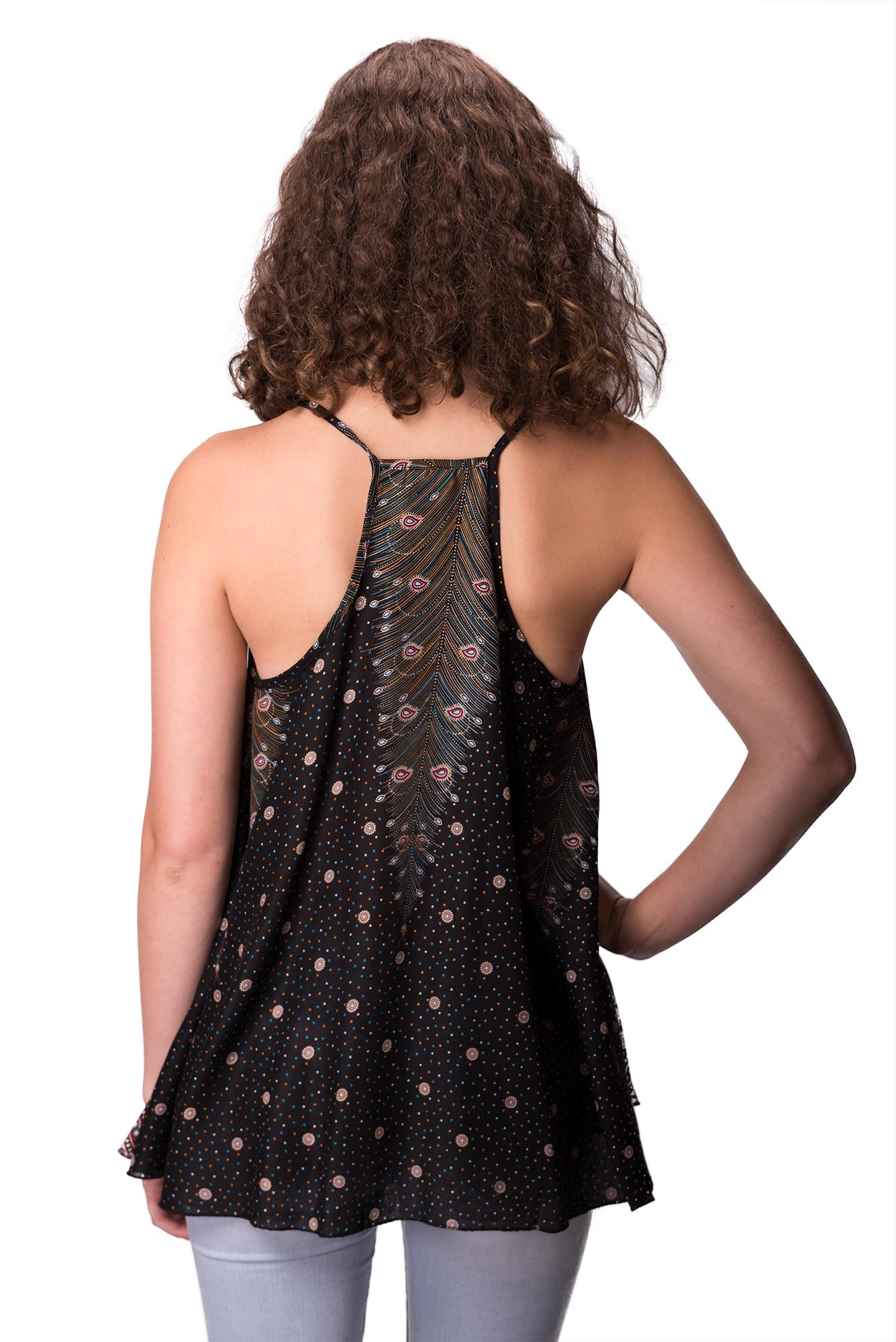 Peacock Print Cami Top - Black Multi - 4484K