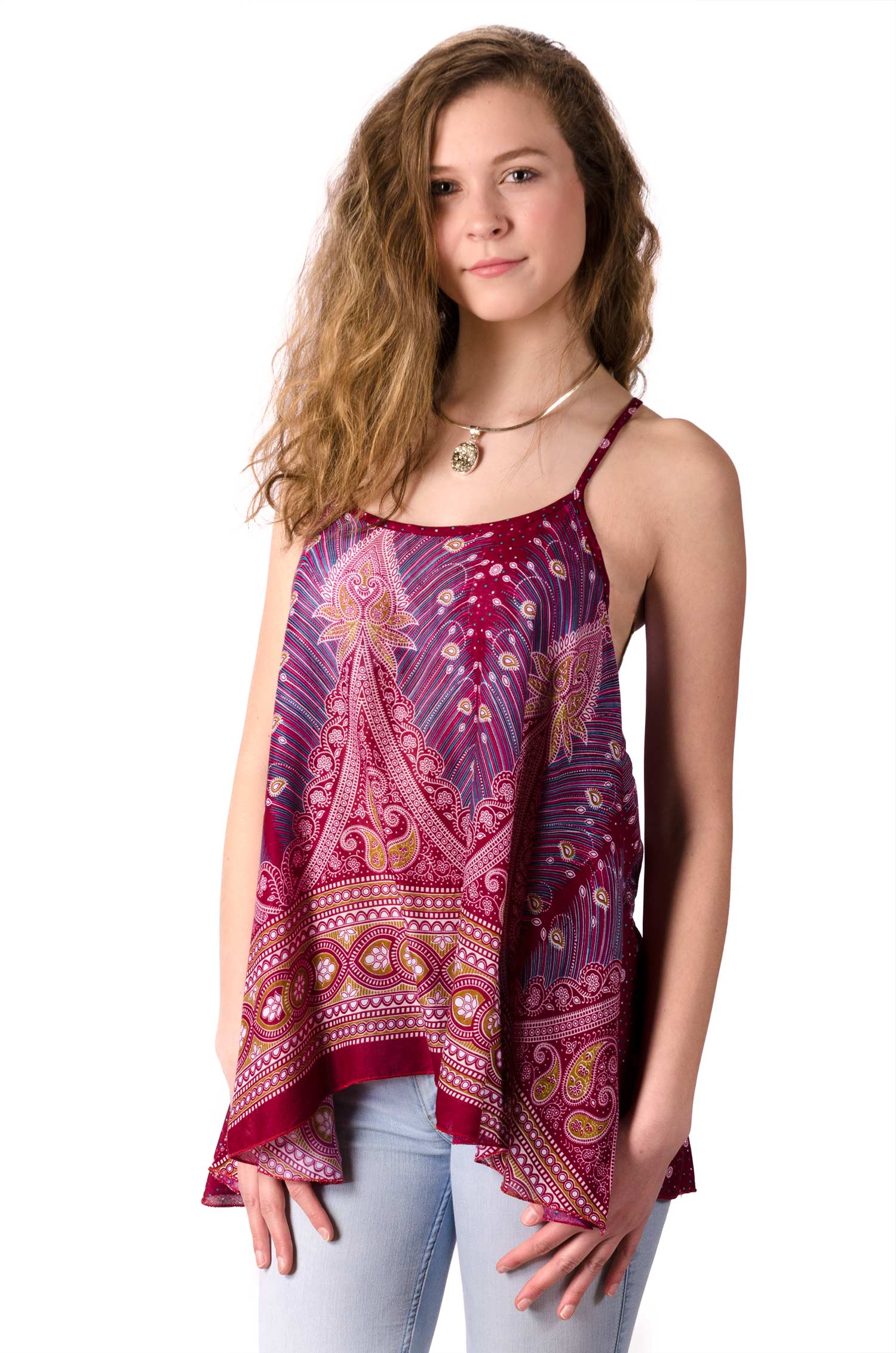 Peacock Print Cami Top - Red Multi - 4484R
