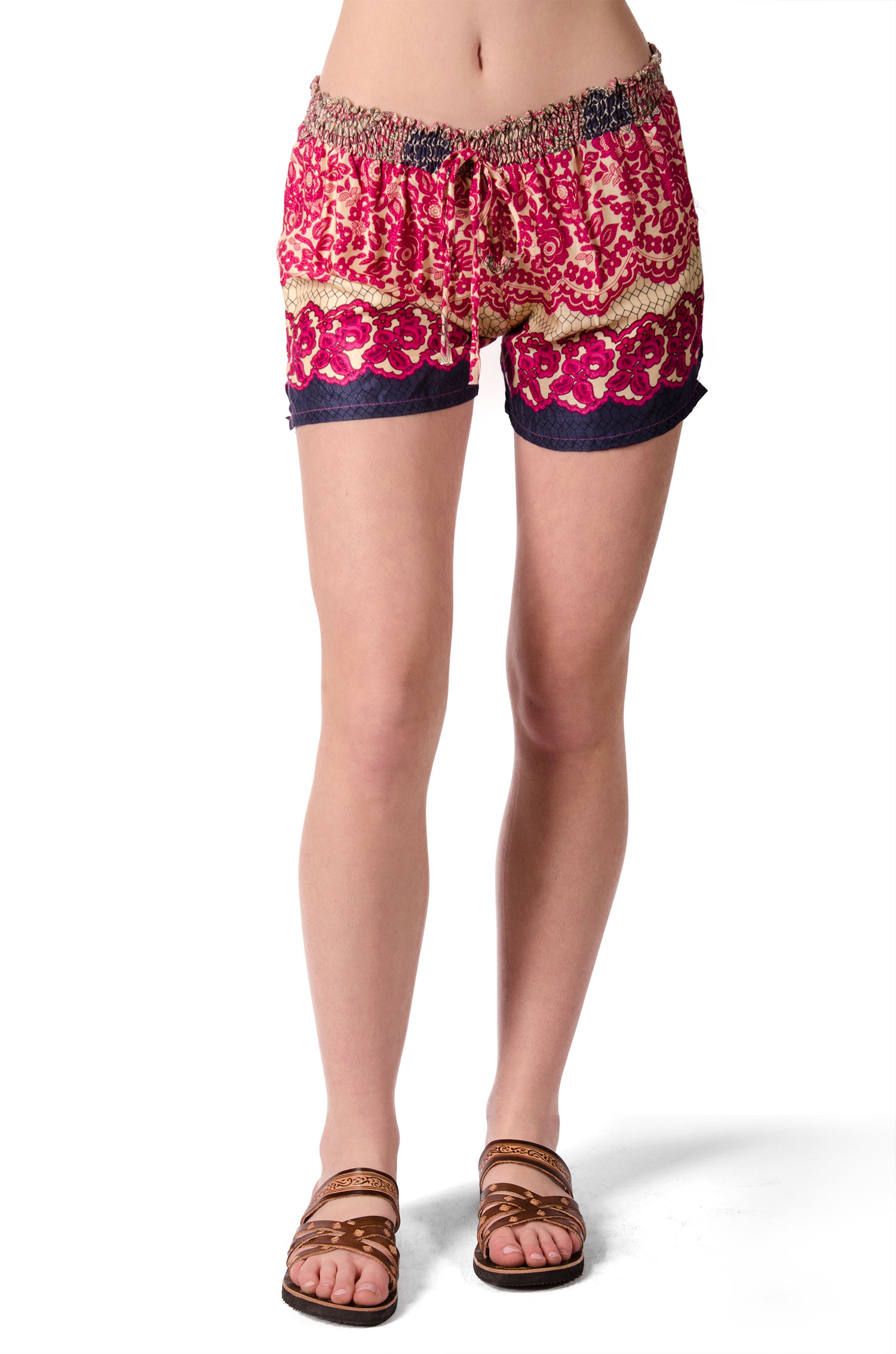Print Mini Shorts - Red Multi - 4487R