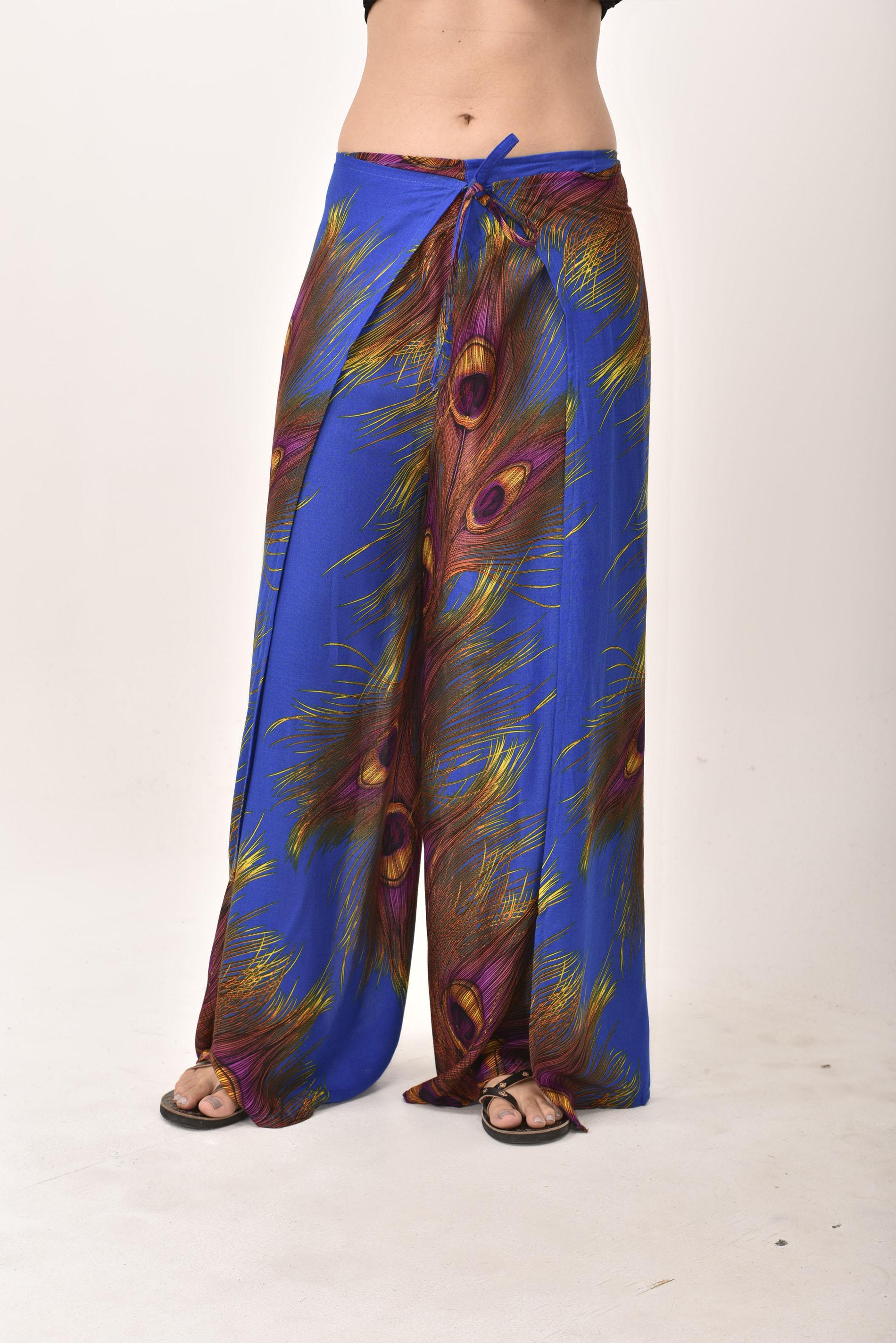 Wrap Pants Peacock Print, Blue - 4504b