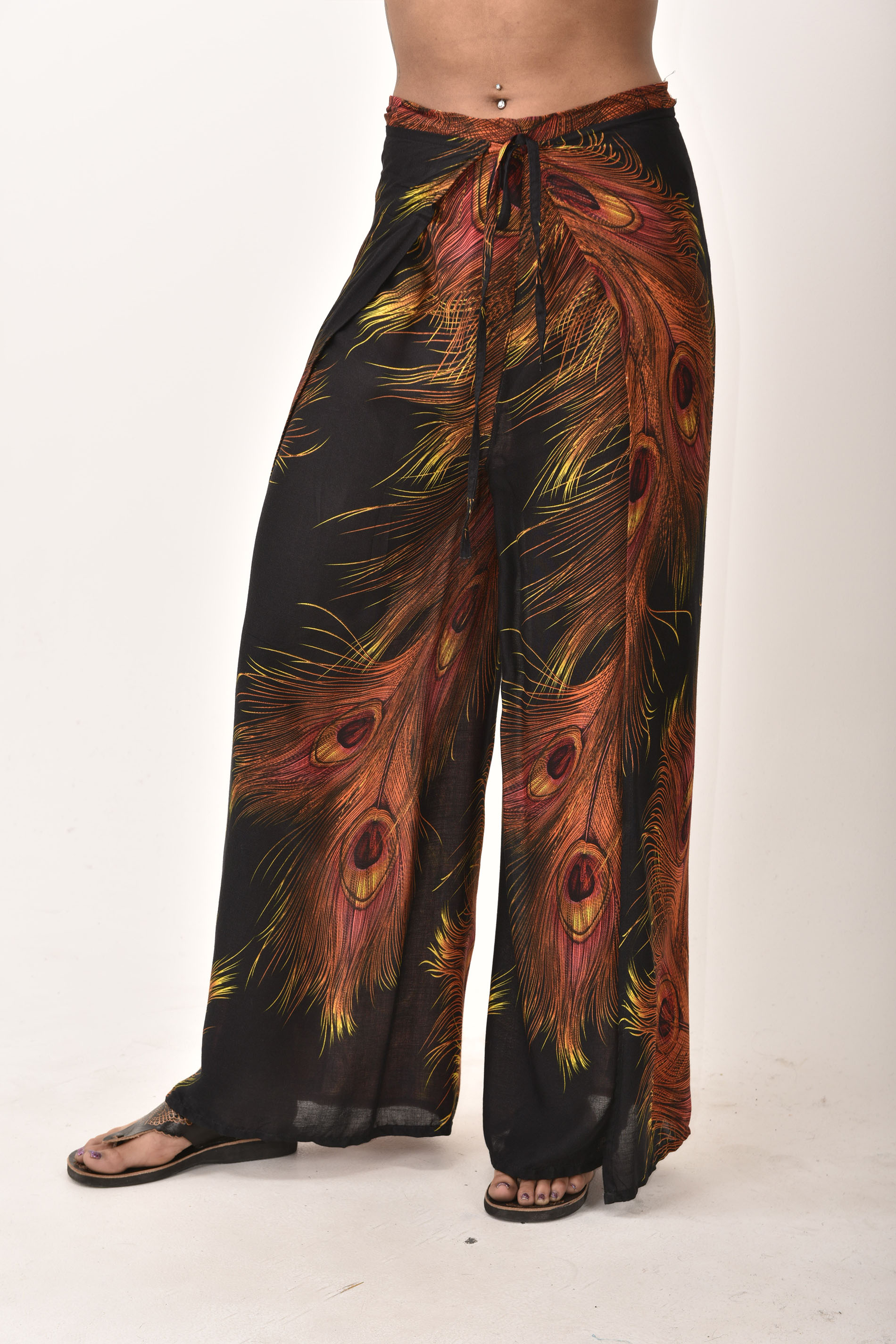 Wrap Pants Peacock Print, Black - 4504K