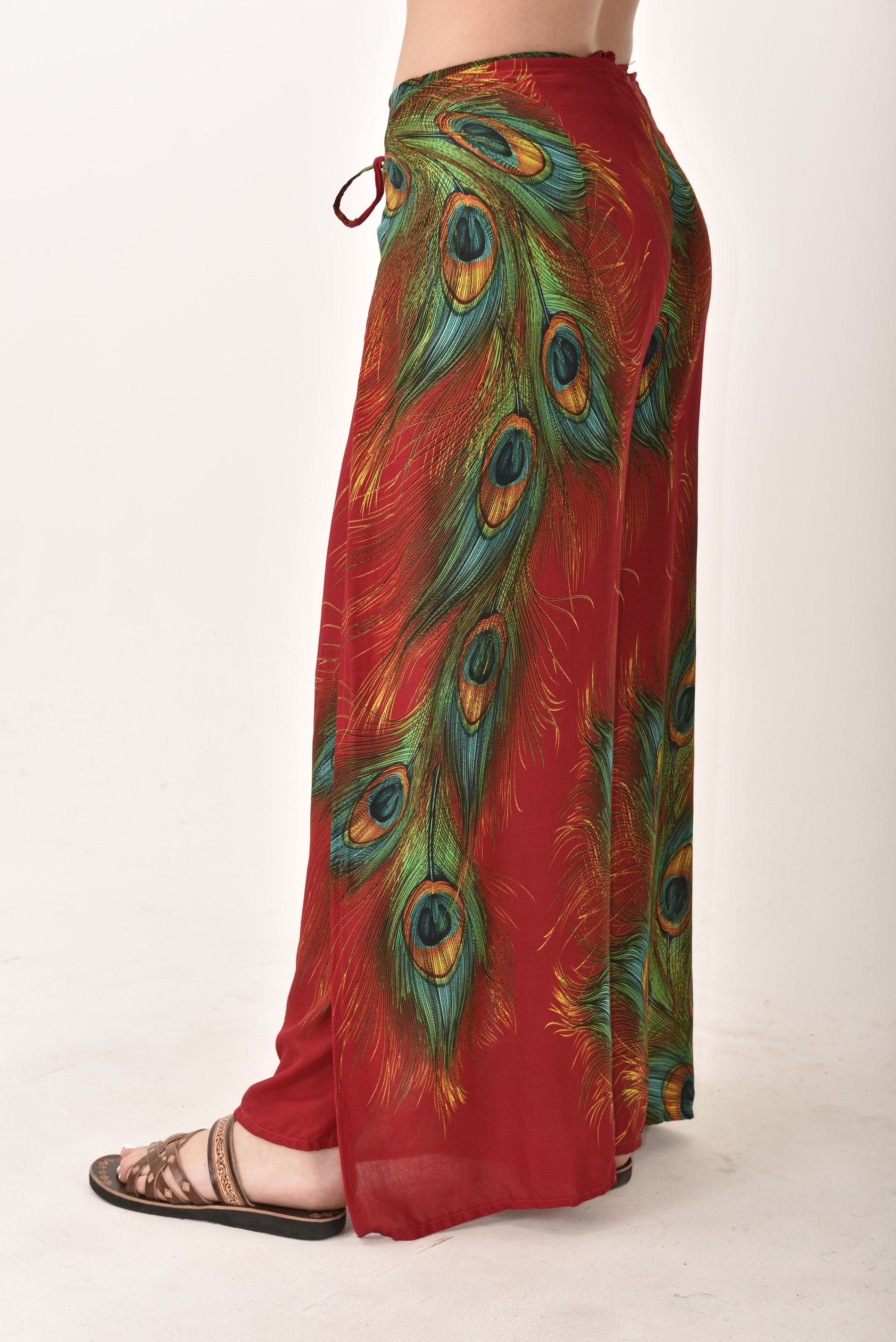 Wrap Pants Peacock Print, Red - 4504R