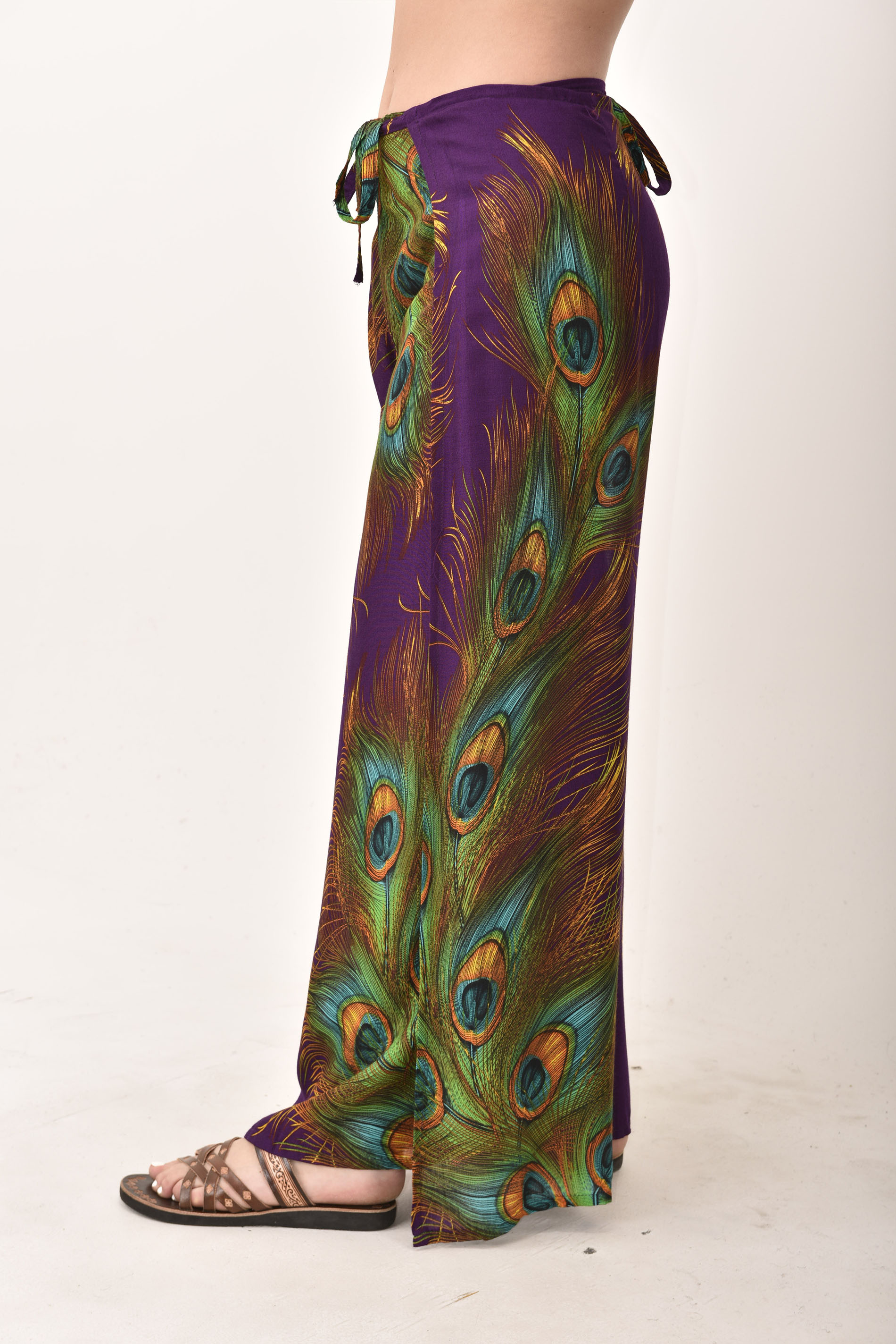 Wrap Pants Peacock Print, Purple - 4504U