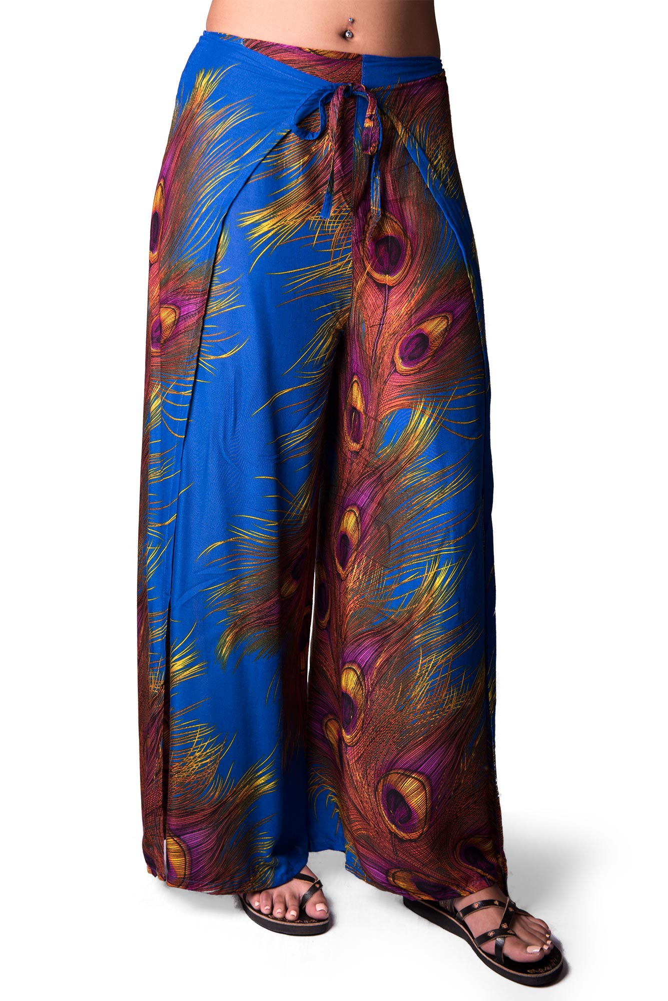 Wrap Pants Peacock Print, Blue - 4504b