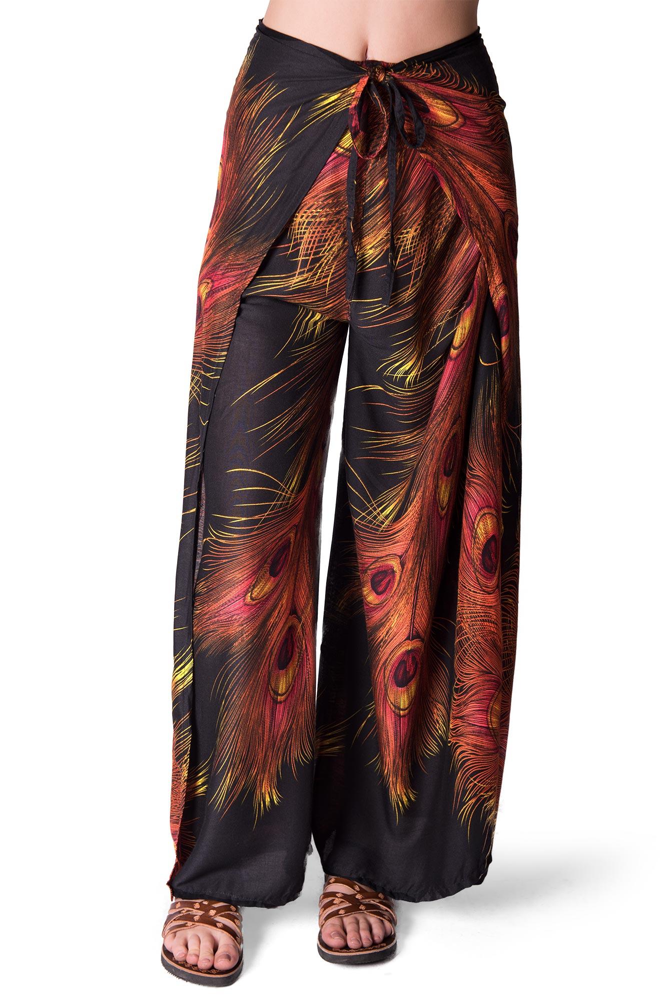 Wrap Pants Peacock Print, Black - 4504K