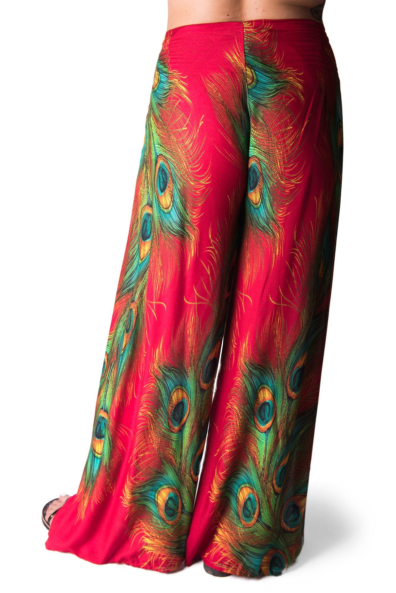 Wrap Pants Peacock Print, Red - 4504R