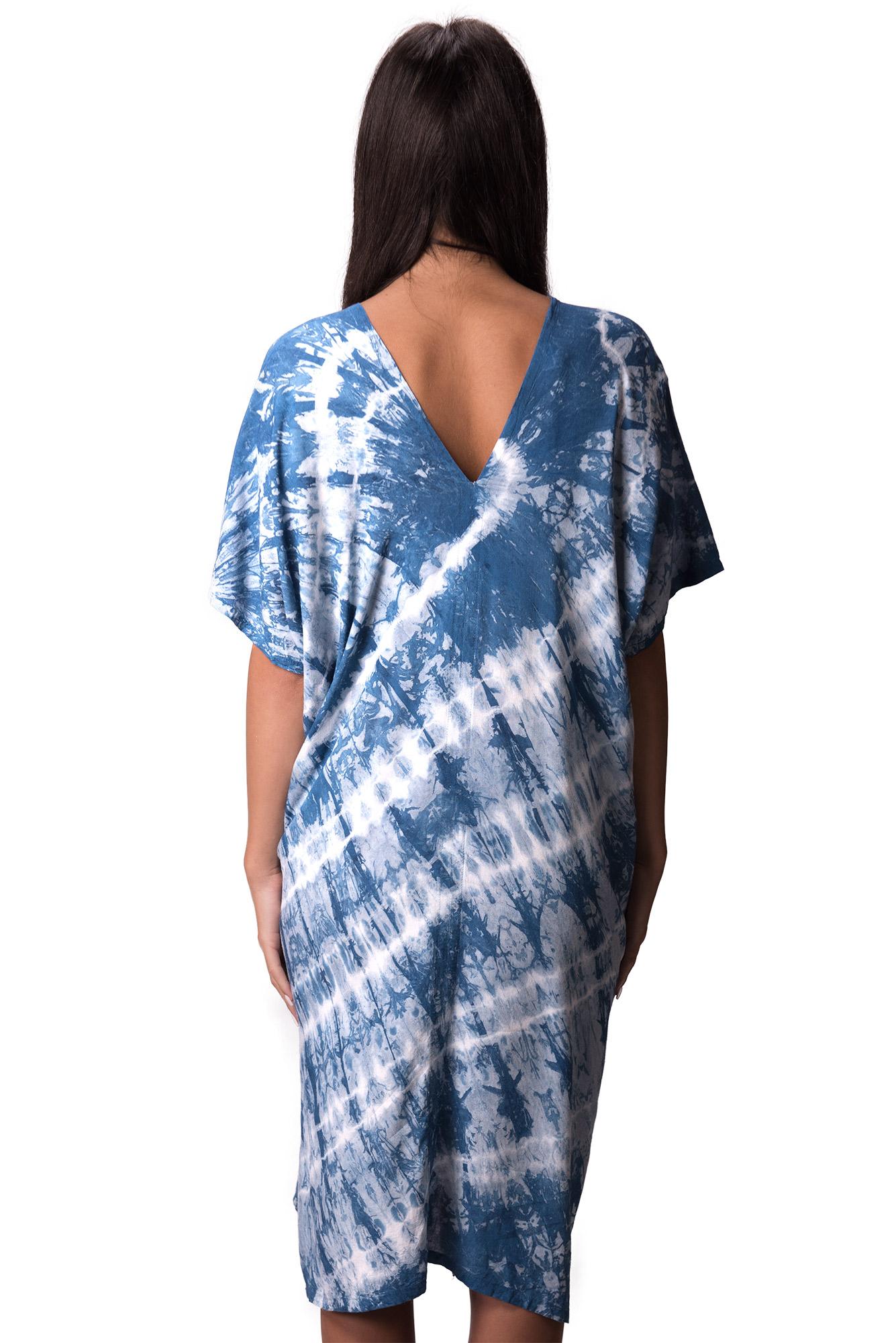 indigo V-neck dress - 4510-IM