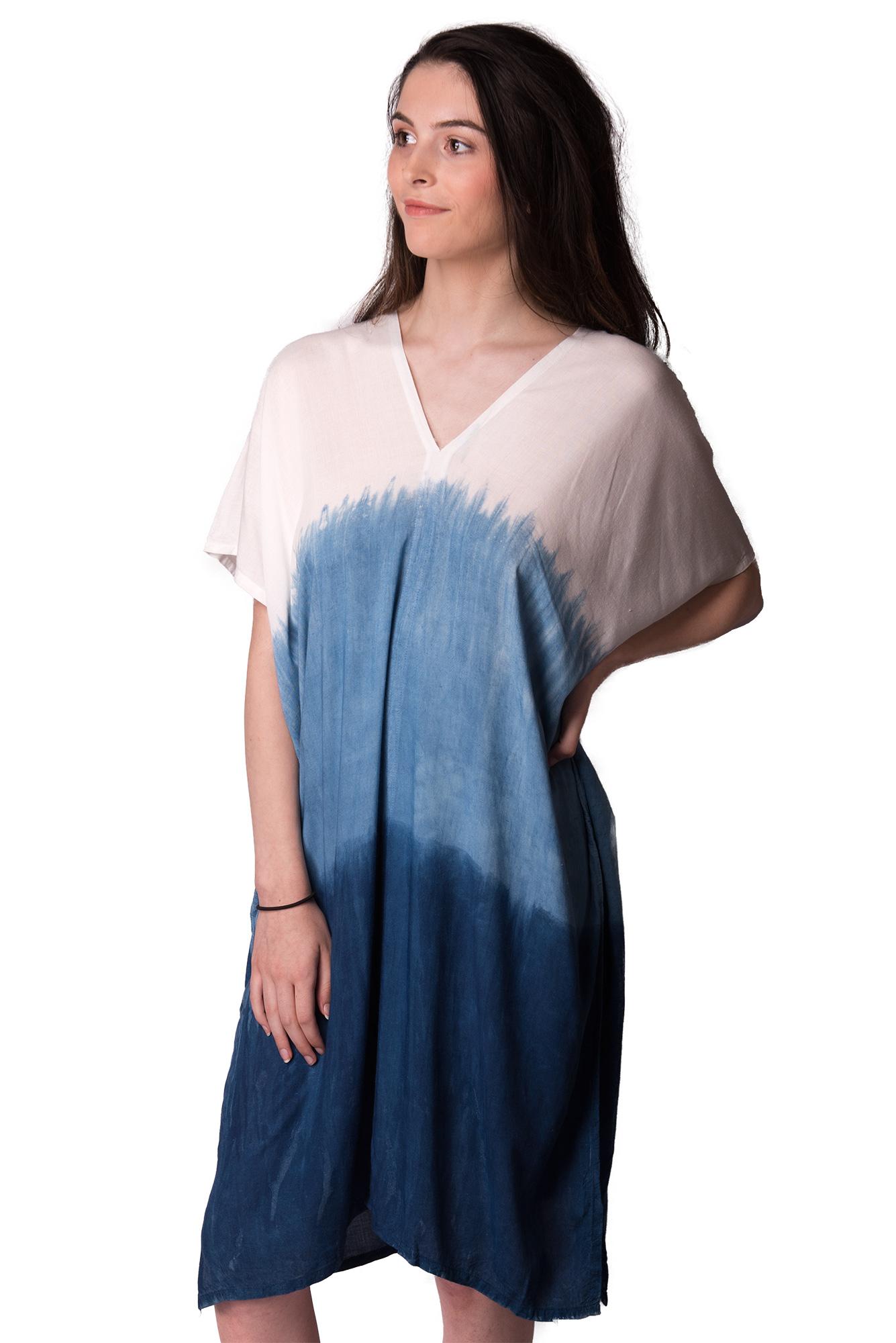indigo V-neck dress-4510-IS