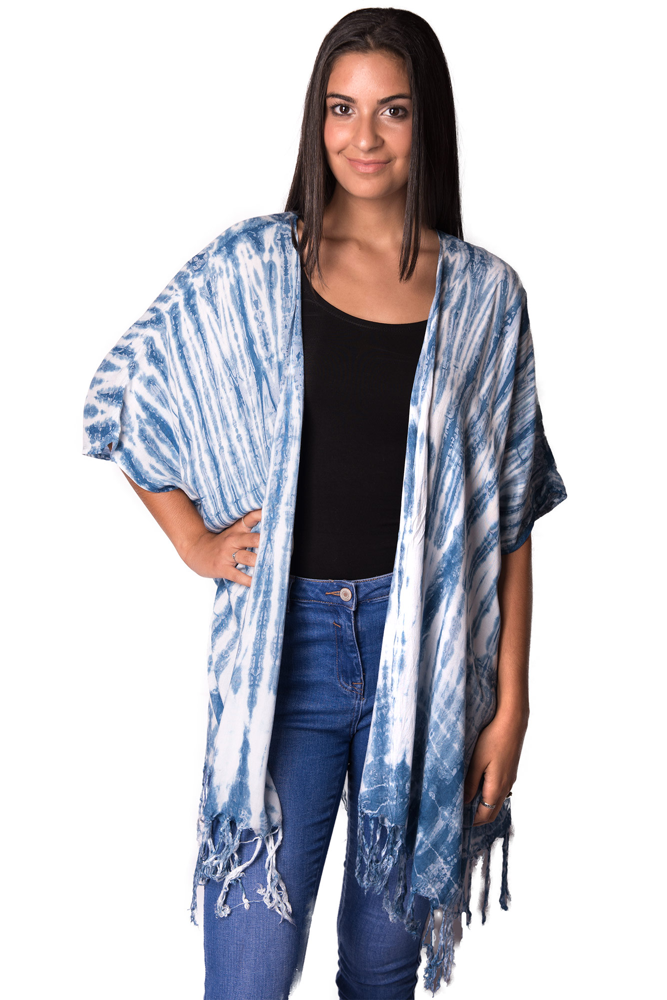 Fringed Cardigan, Indigo - 4511IT