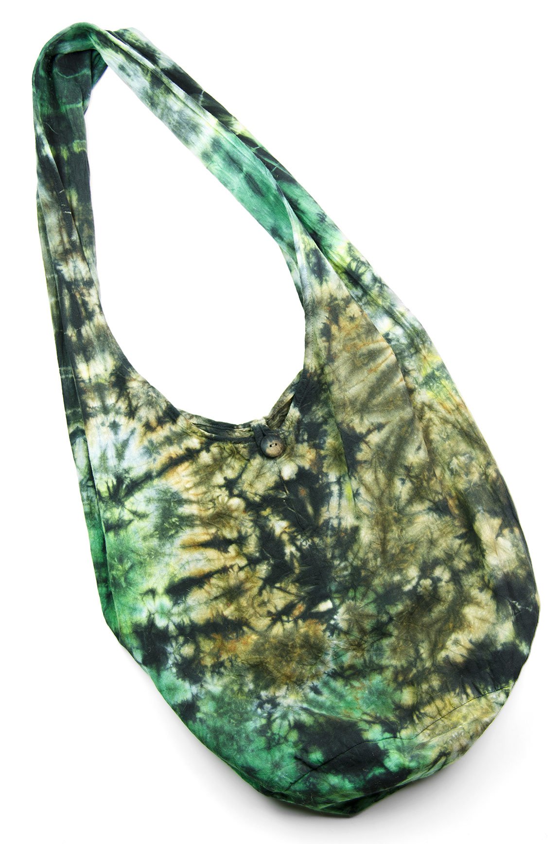 Hand Painted Tie Dye Peddler Bag Green-Multi