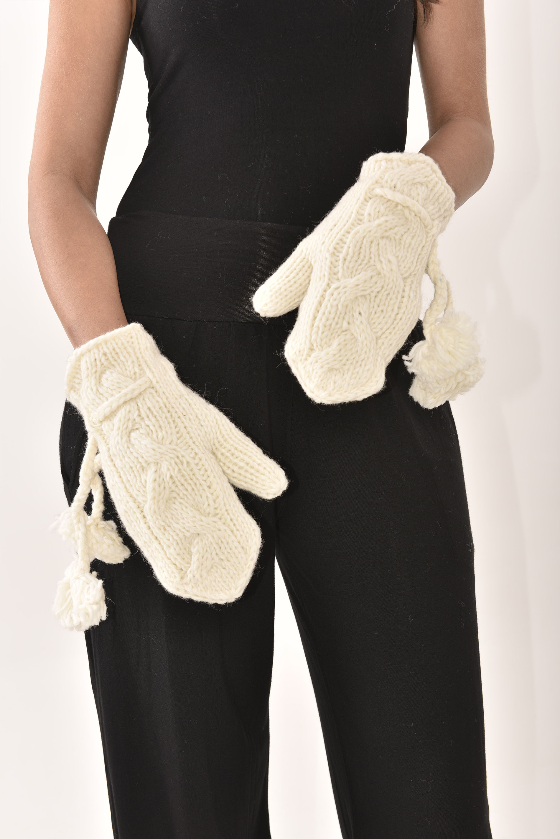 Mittens Cable Knit, Cream