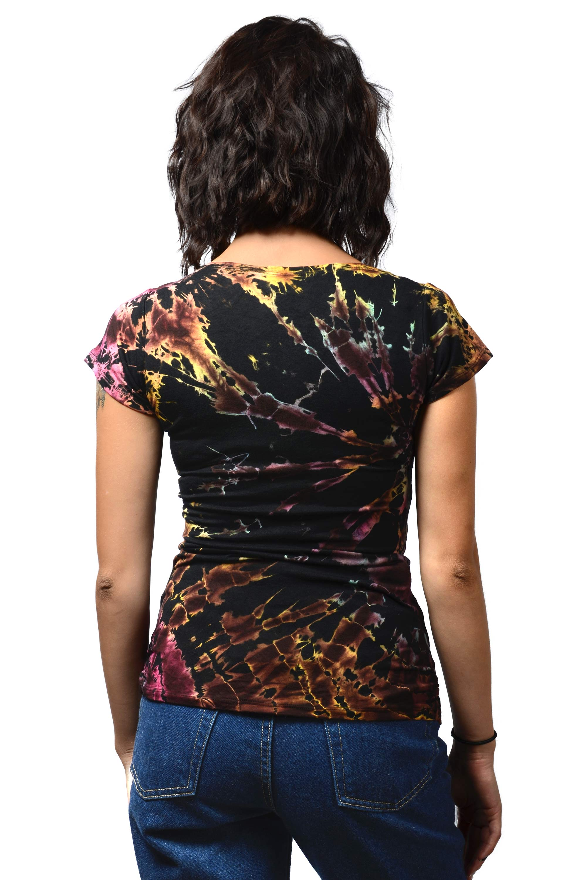 Short Sleeve V-neck Tee Hand Painted Tie Dye - Black Multi