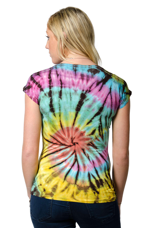 Short Sleeve V-neck Tee Hand Painted Tie Dye - Multi Swirl