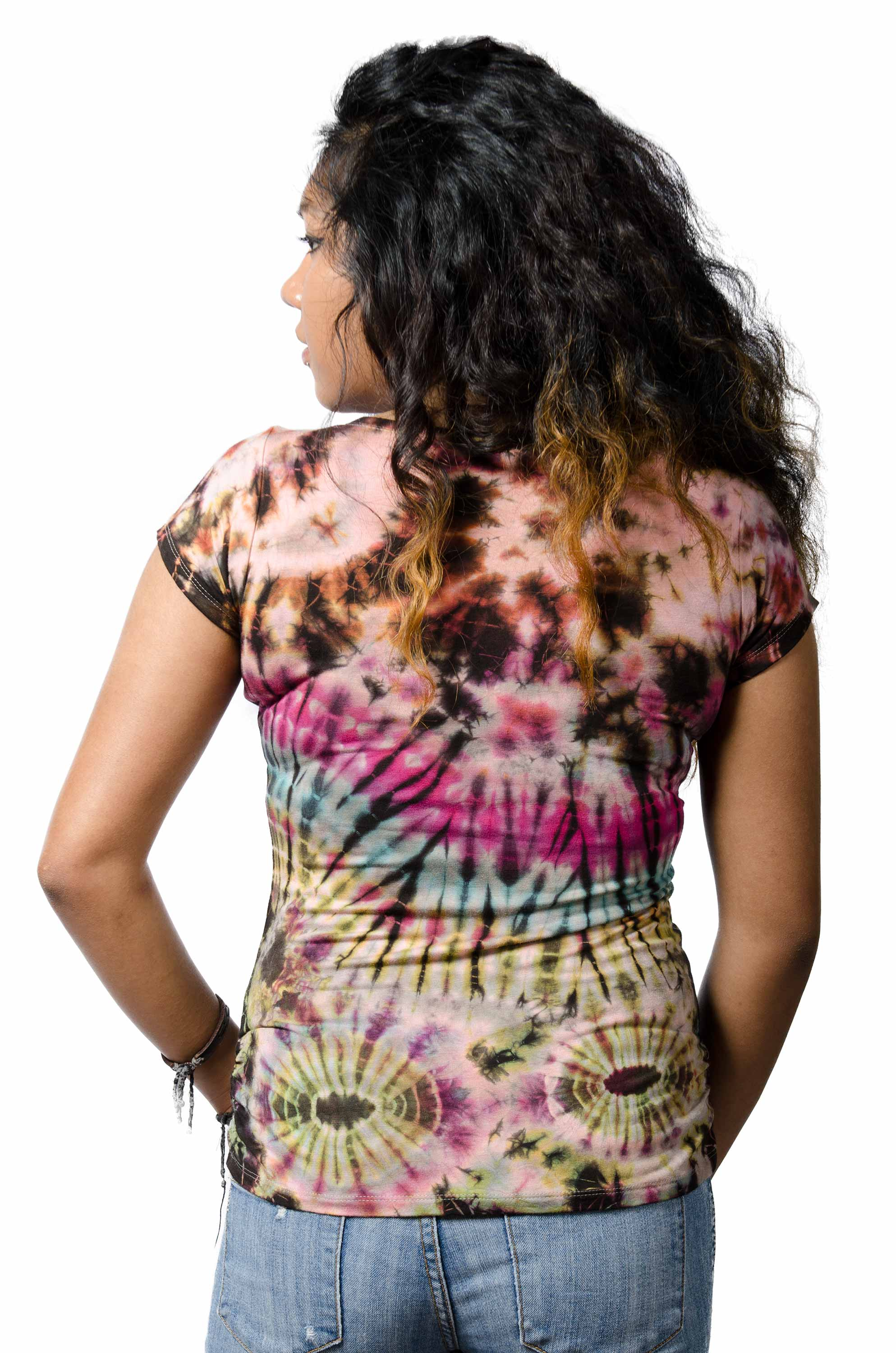 Short Sleeve V-neck Tee Hand Painted Tie Dye - Tan Multi
