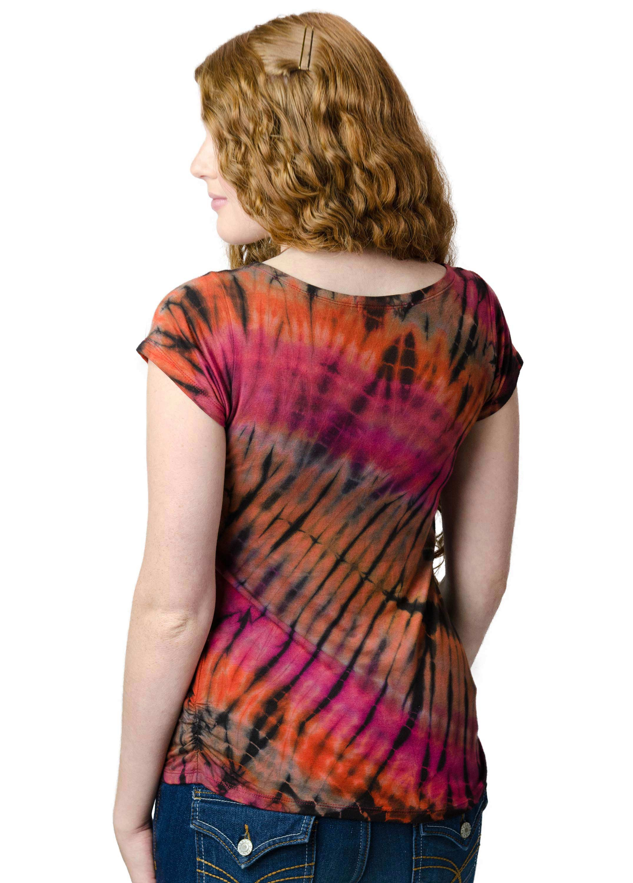 Short Sleeve V-neck Tee Hand Painted Tie Dye - Red Orange Multi