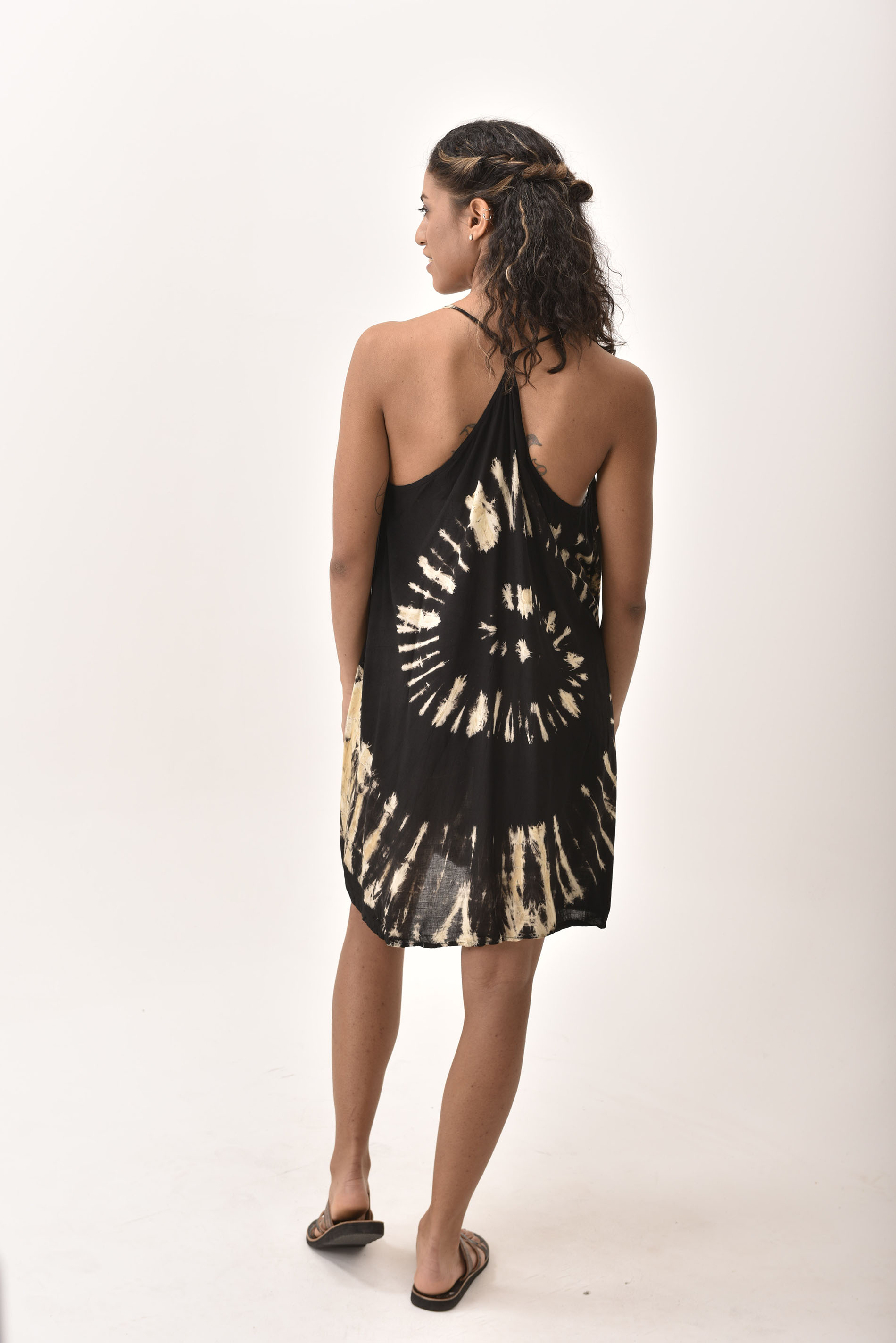 Mini Shift Dress Hand Painted Tie Dye, Black Taupe