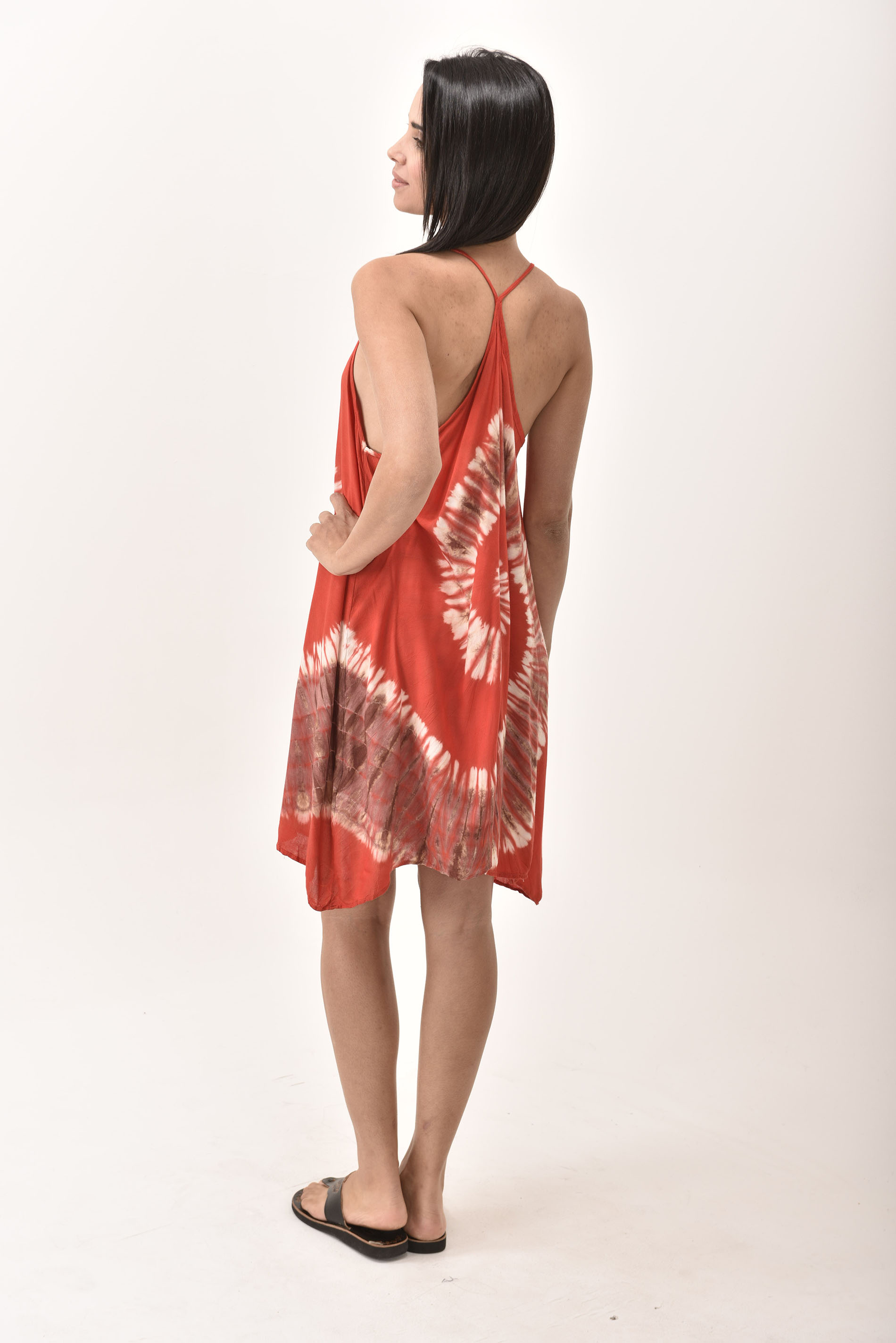 Mini Shift Dress Hand Painted Tie Dye, Red