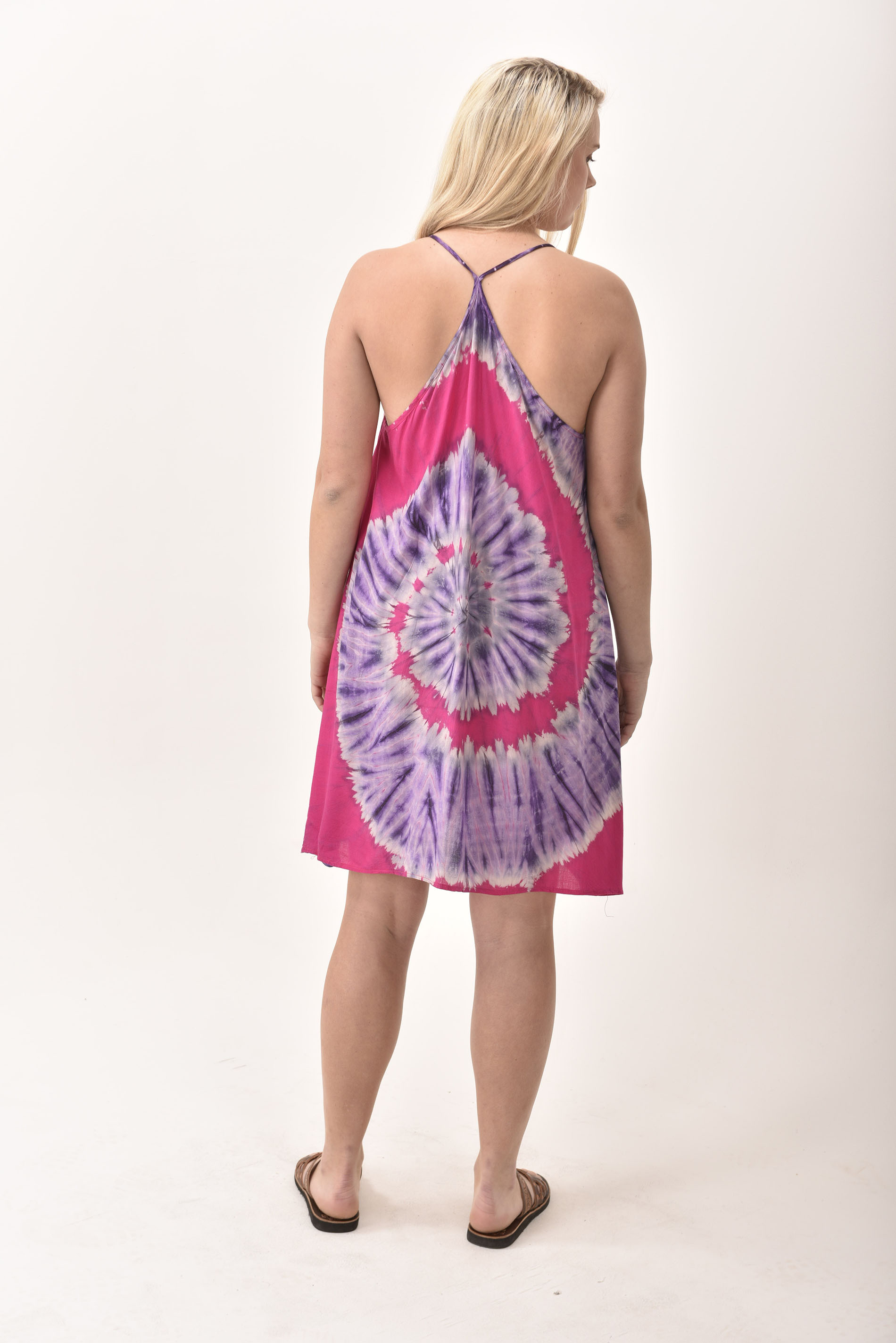 Mini Shift Dress Hand Painted Tie Dye, Pink Purple