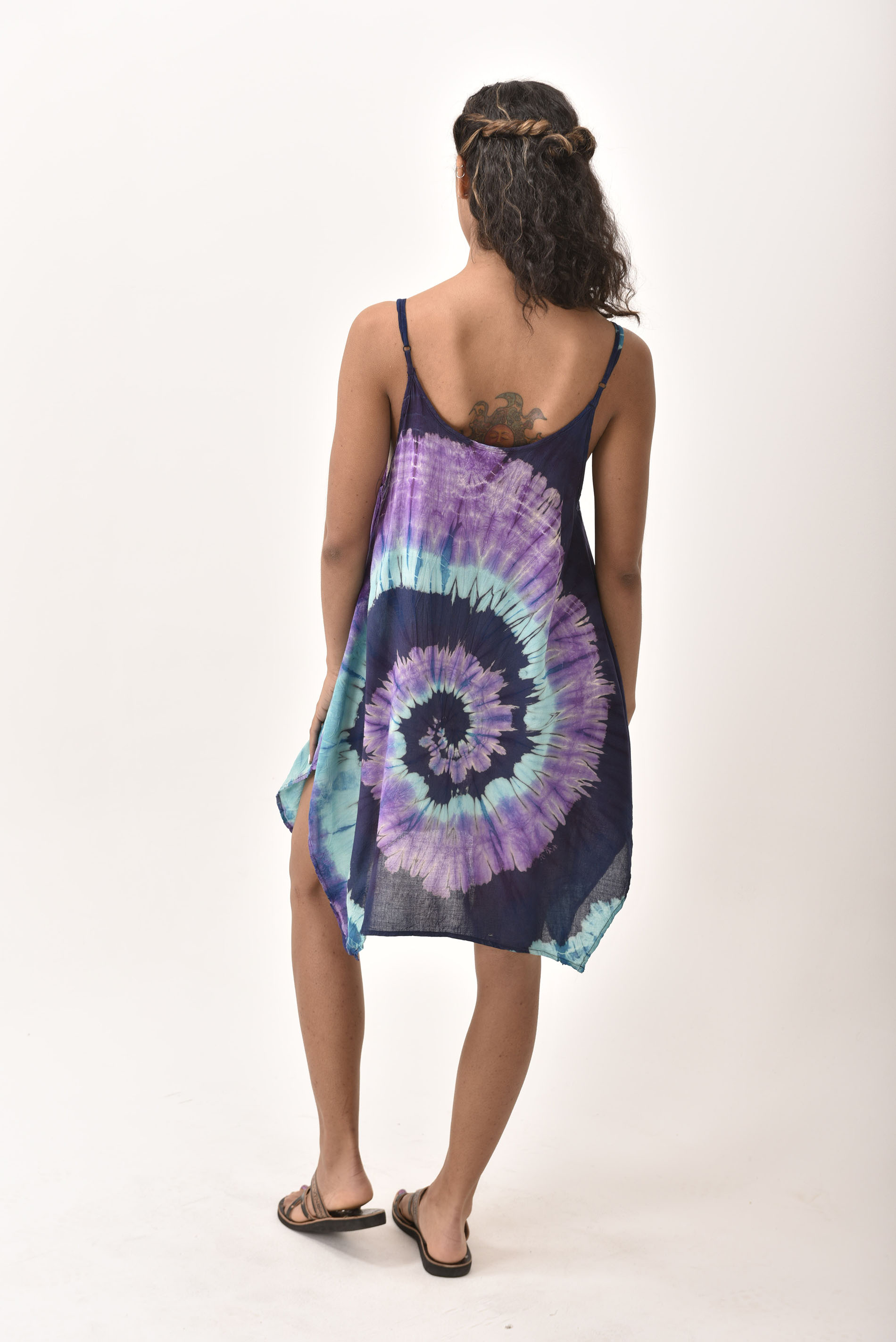 Fairy-Cut Dress, Hand Painted Tie Dye, Purple Blue Multi