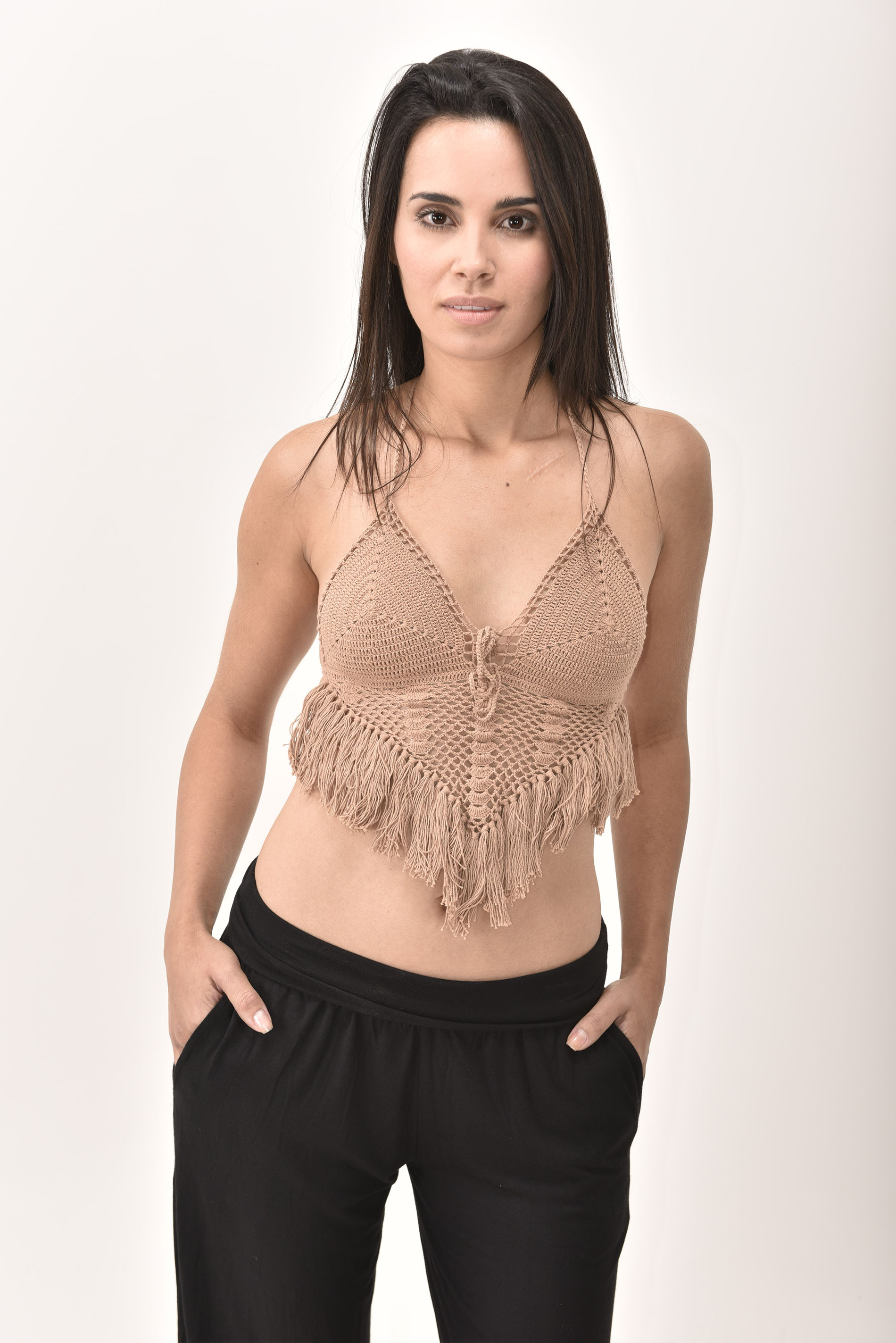 Crochet Top, Brown - 4474N