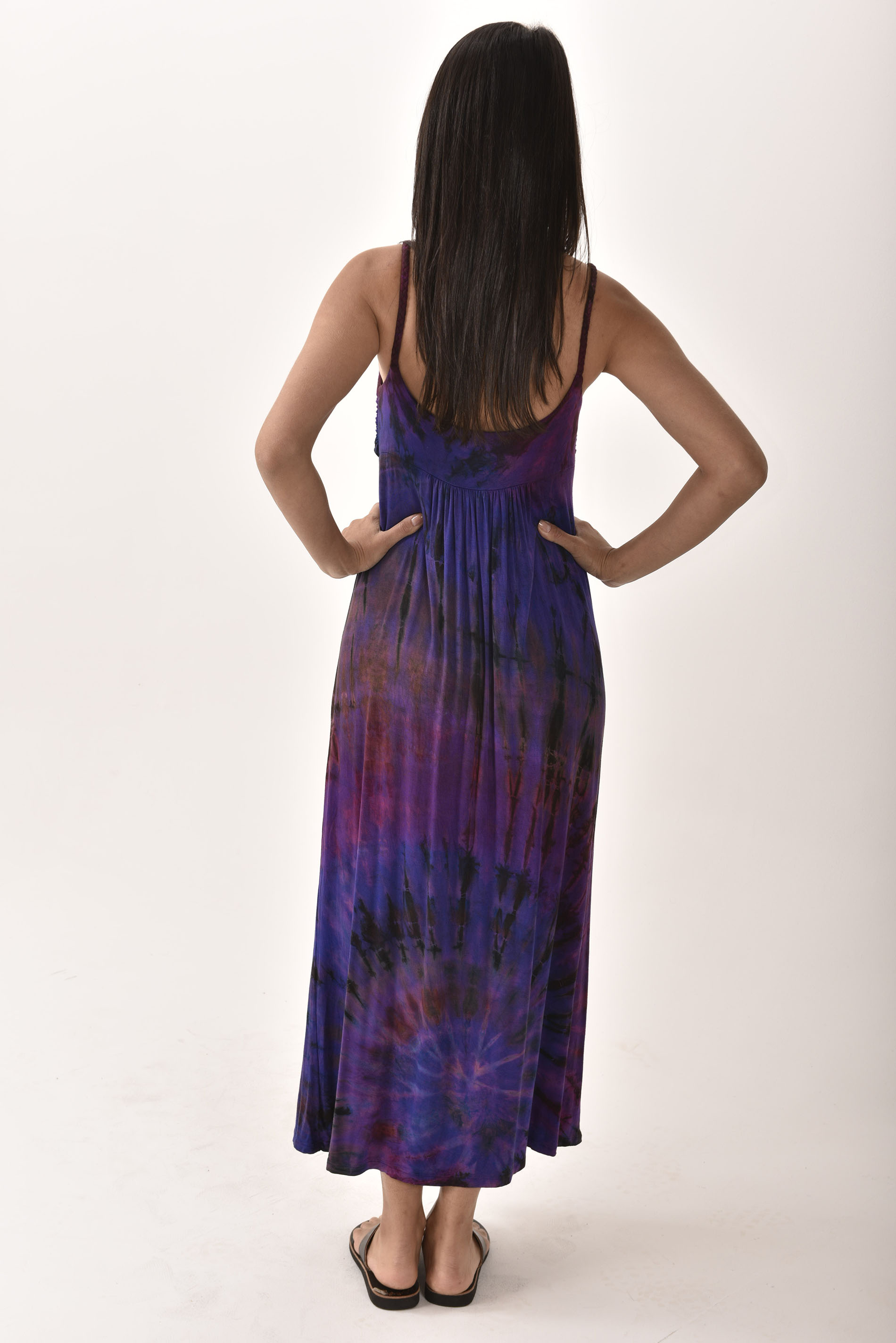 Hand Painted Tie Dye Maxi Dress Purple