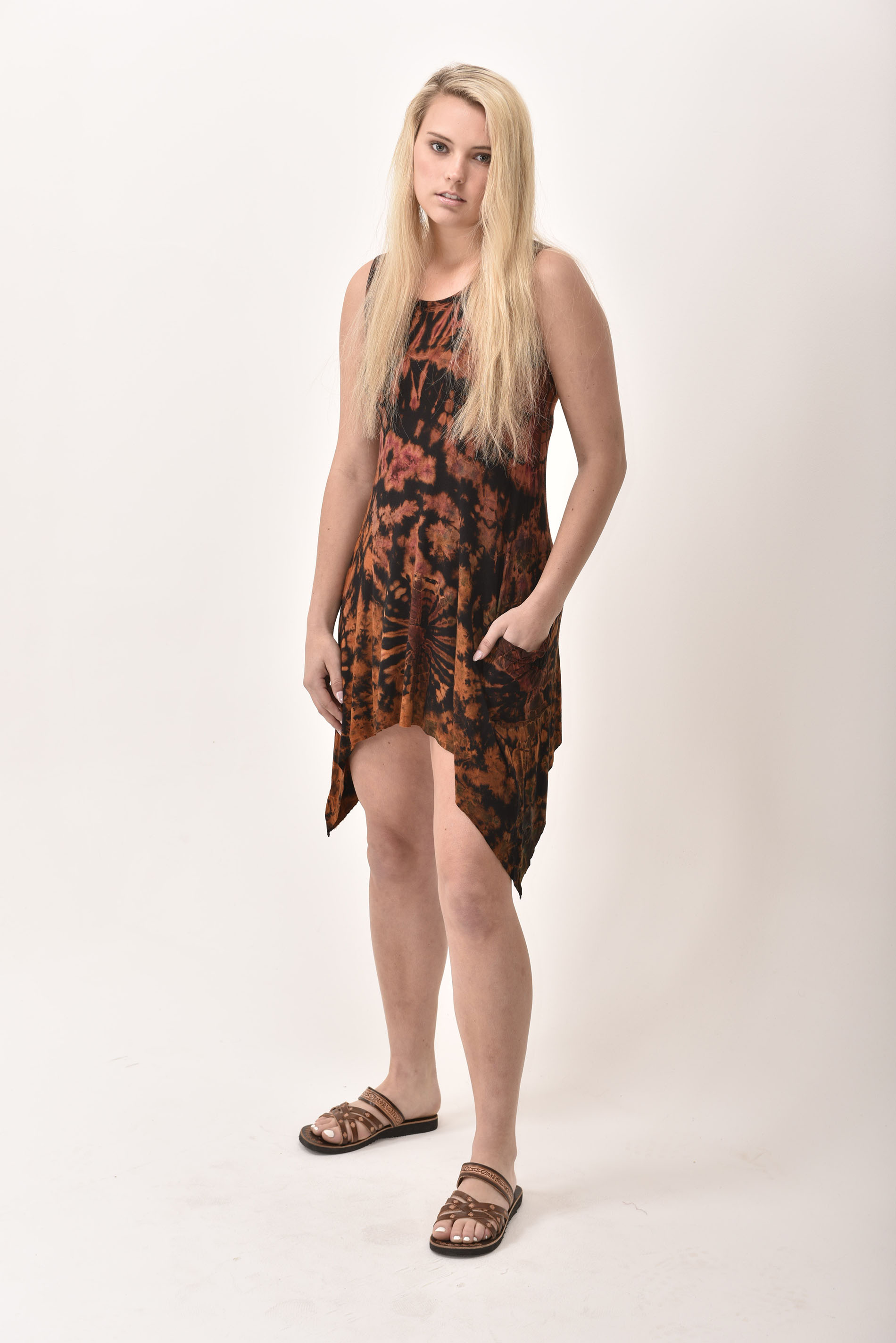 Pocket Sundress, Hand Painted Tie Dye, Black Tan Multi
