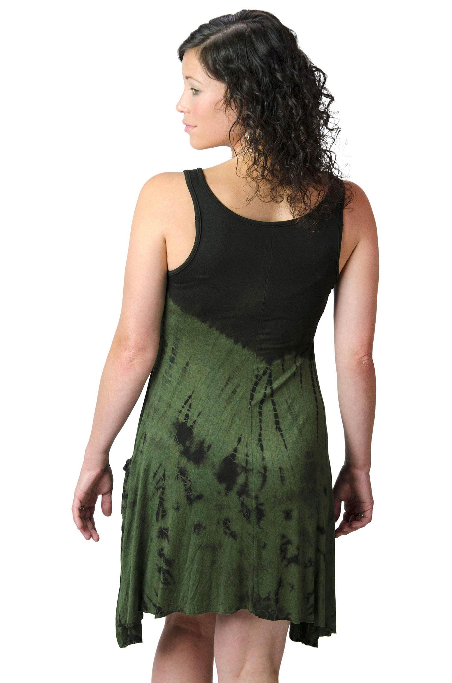 Pocket Sundress, Hand Painted Tie Dye, Black Olive Multi