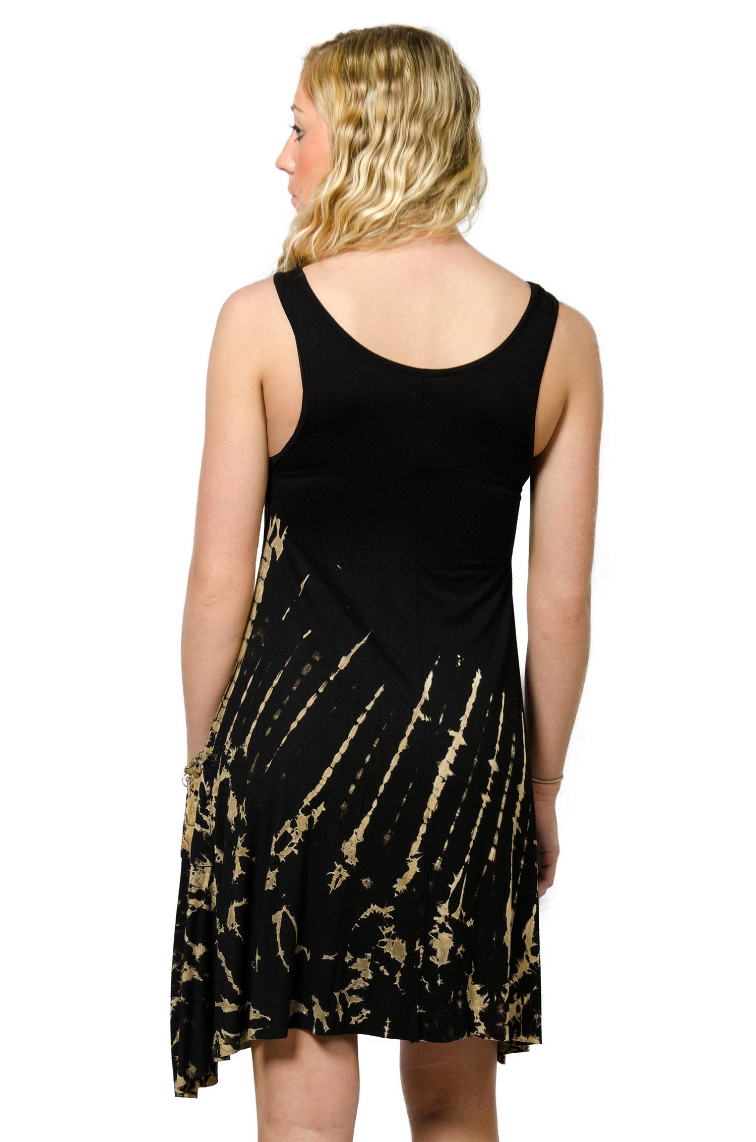 Pocket Sundress, Hand Painted Tie Dye, Black Tan Multi