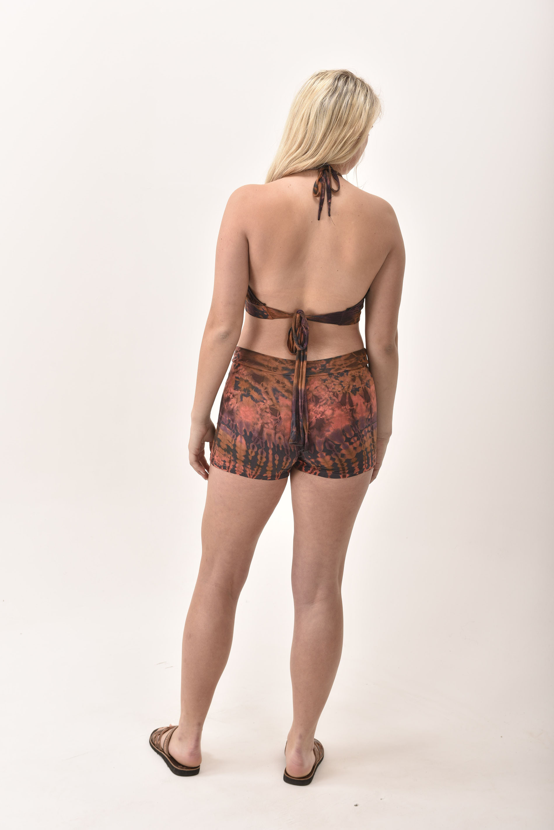Shorts & Halter Top, Hand Painted Tie Dye, Orange Earthy