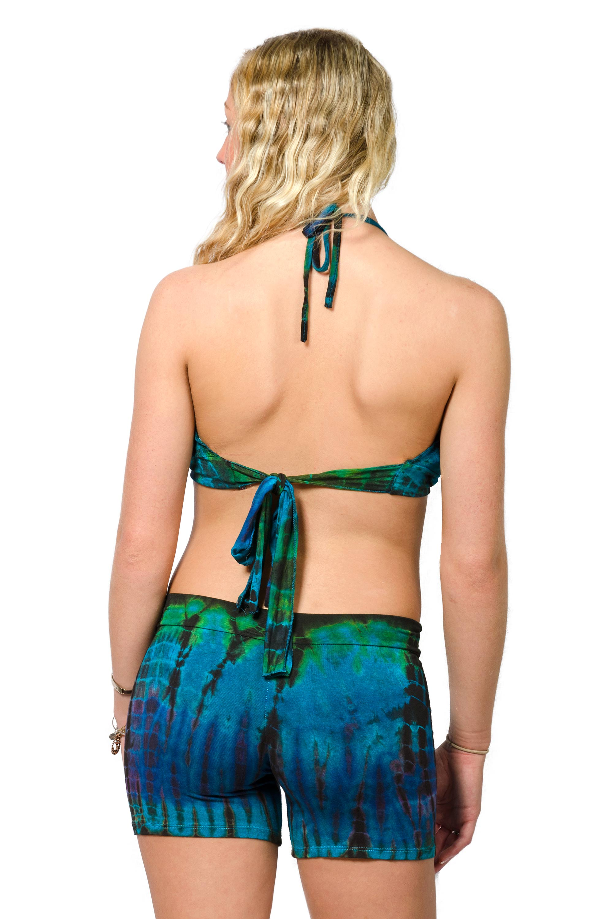 Shorts & Halter - Blue Green Multi
