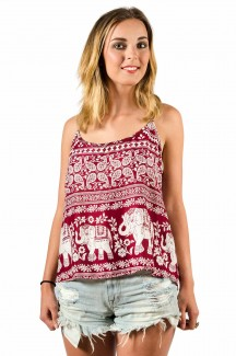 Elephant Print Cami Top Red
