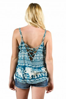Elephant Print Cami Top Teal