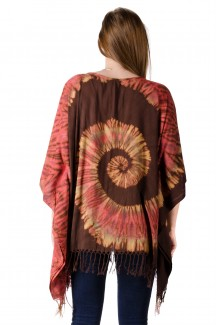 Hand Painted Tie Dye,Fringed Poncho Tunic , Orange Brown